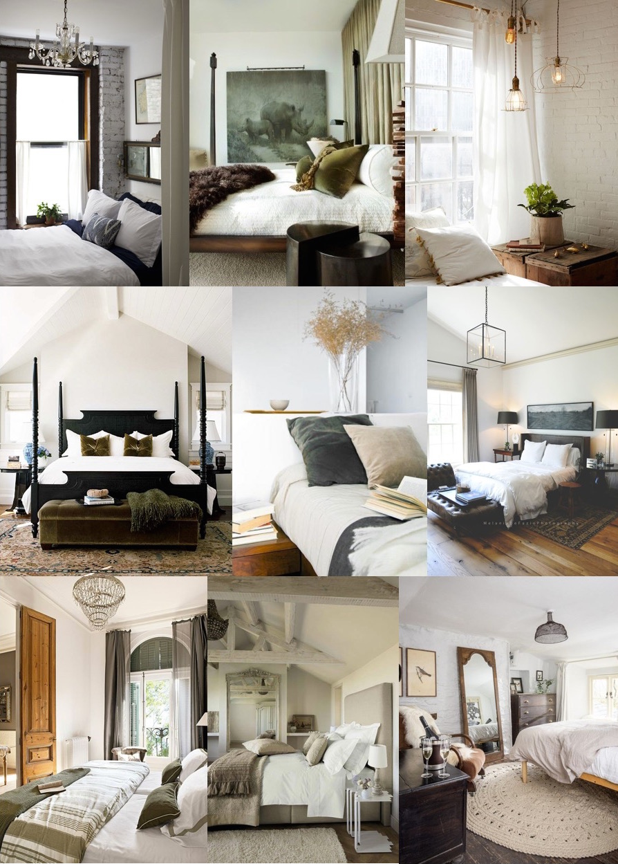 Master Bedroom Inspiration - Neutral, earthy, textures, vintage, country, modern, relaxed (via Stevie Storck Design Co.)