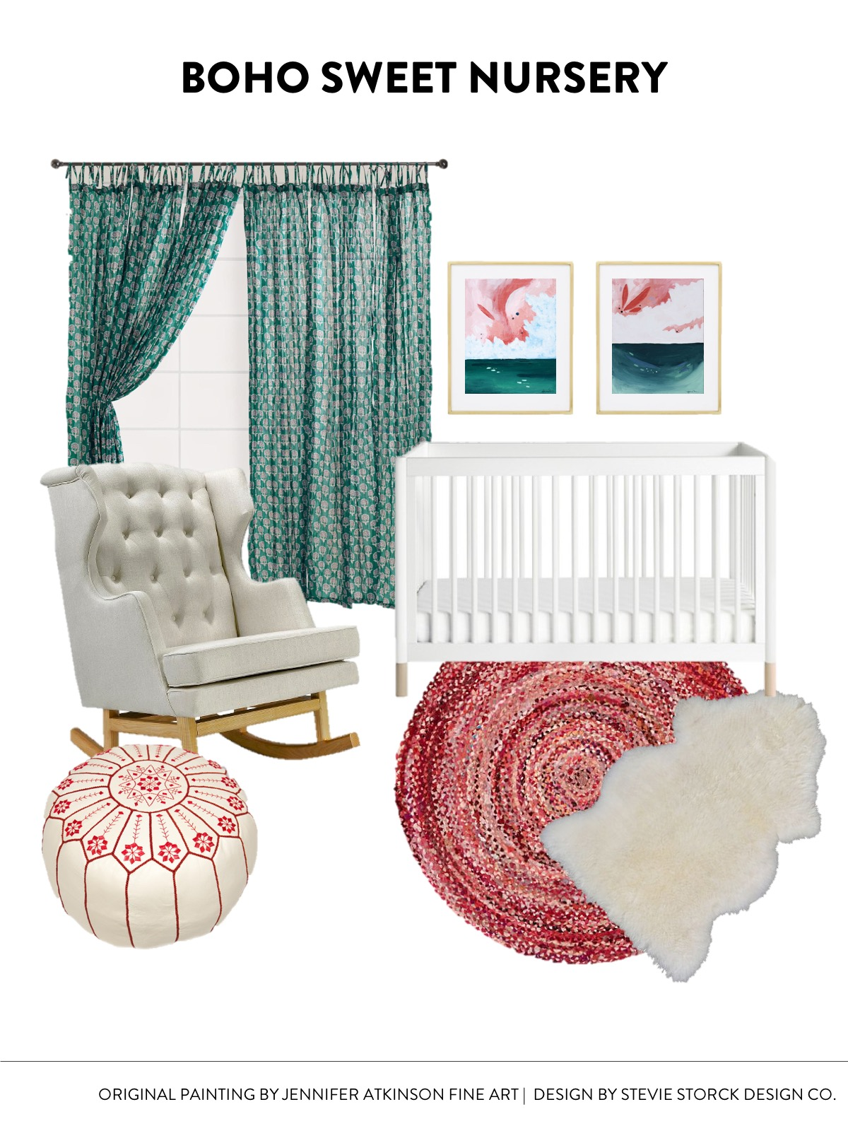 Sweet Boho Nursery Design Inspiration | CLICK THROUGH FOR SOURCES! Teal, Red Pink, White & Gold Color Scheme inspired by abstract art. Layered rugs, sheepskin and braided rug, white leather moroccan pouf, tufted rocking chair