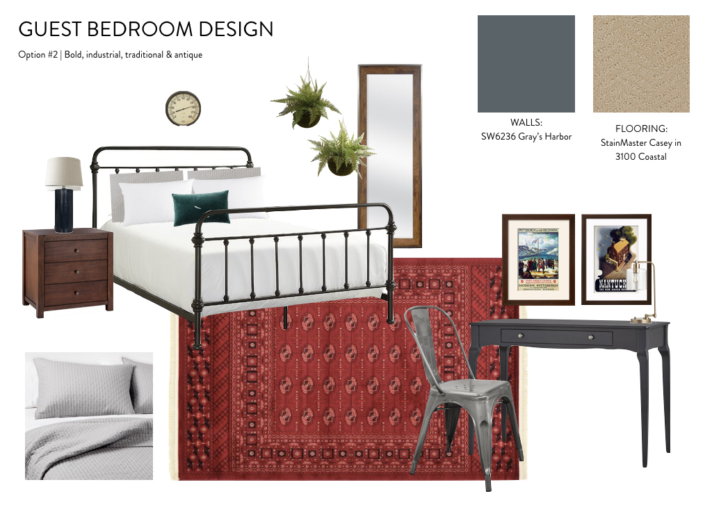 guest bedroom design inspiration : bold, rustic, masculine, traditional, industrial, antique metal bed, red persian rug