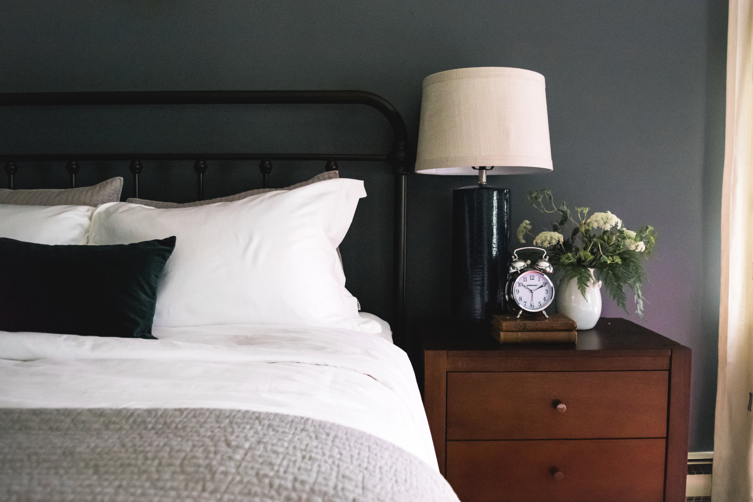 Idylwyld Project Guest Bedroom | Moody, masculine, industrial, cozy & bold  Read more about this project on our blog! >> http://www.steviestorck.com/blog/2017/8/6/idylwyld-guest-bedroom-reveal