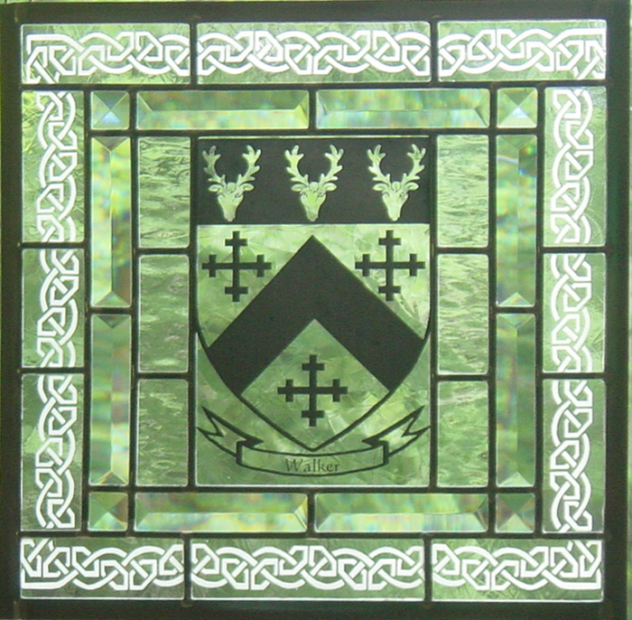 Silk screened crest image with an custom etched border.