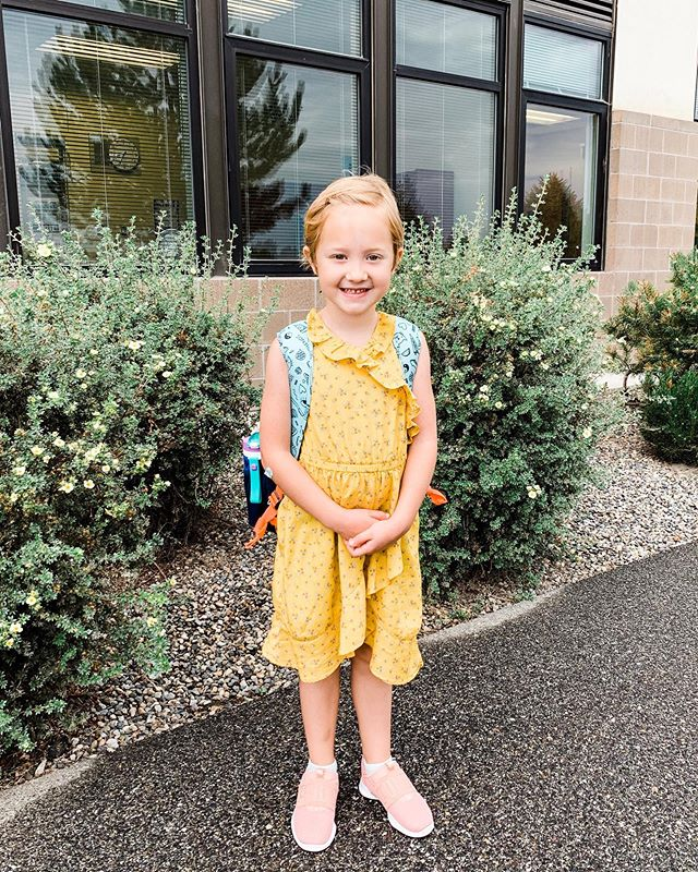 The bravest one of us all! First day of first grade was a success! 😭🥰