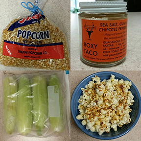 HONORABLE MENTION  We love Miranda's Brady Bunchesque homage to popcorn and Roxy Taco!