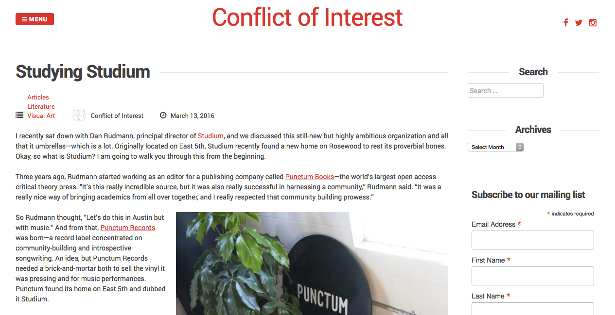 Conflict of Interest, 3/13/16