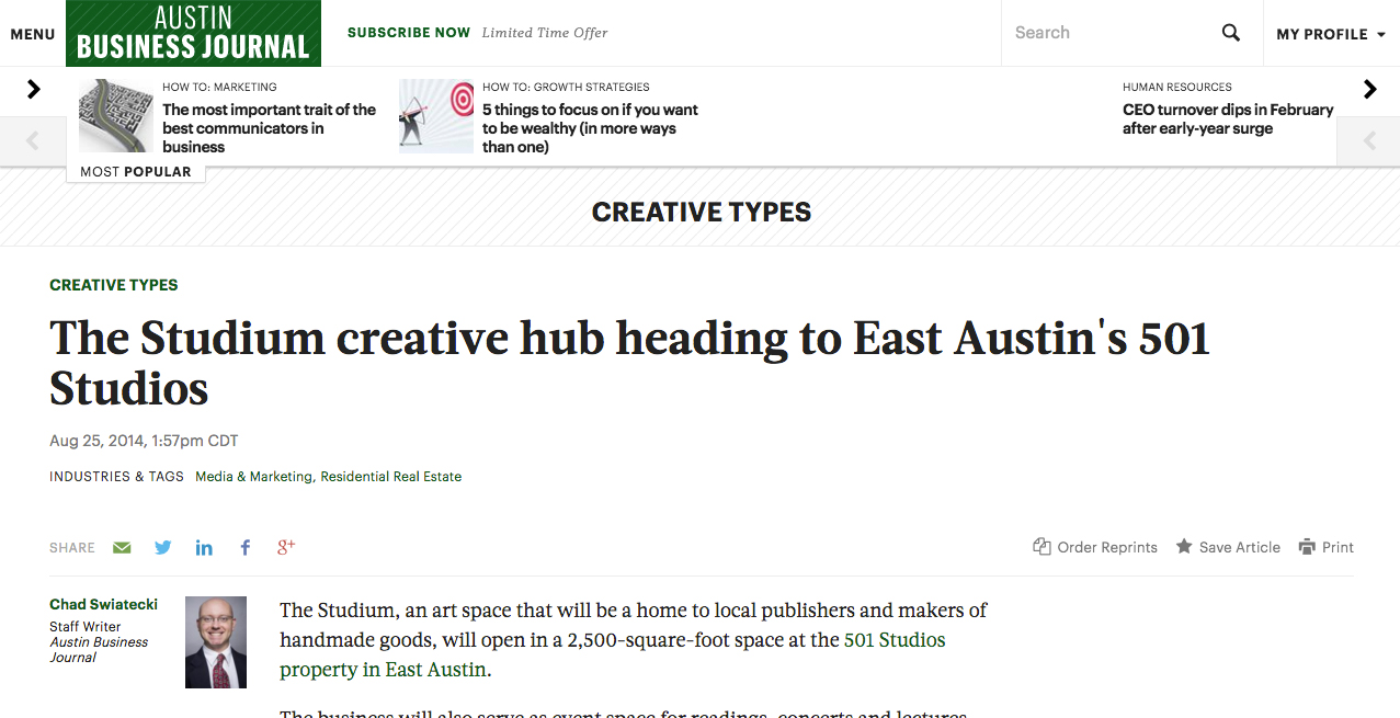 Austin Business Journal, 8/25/14
