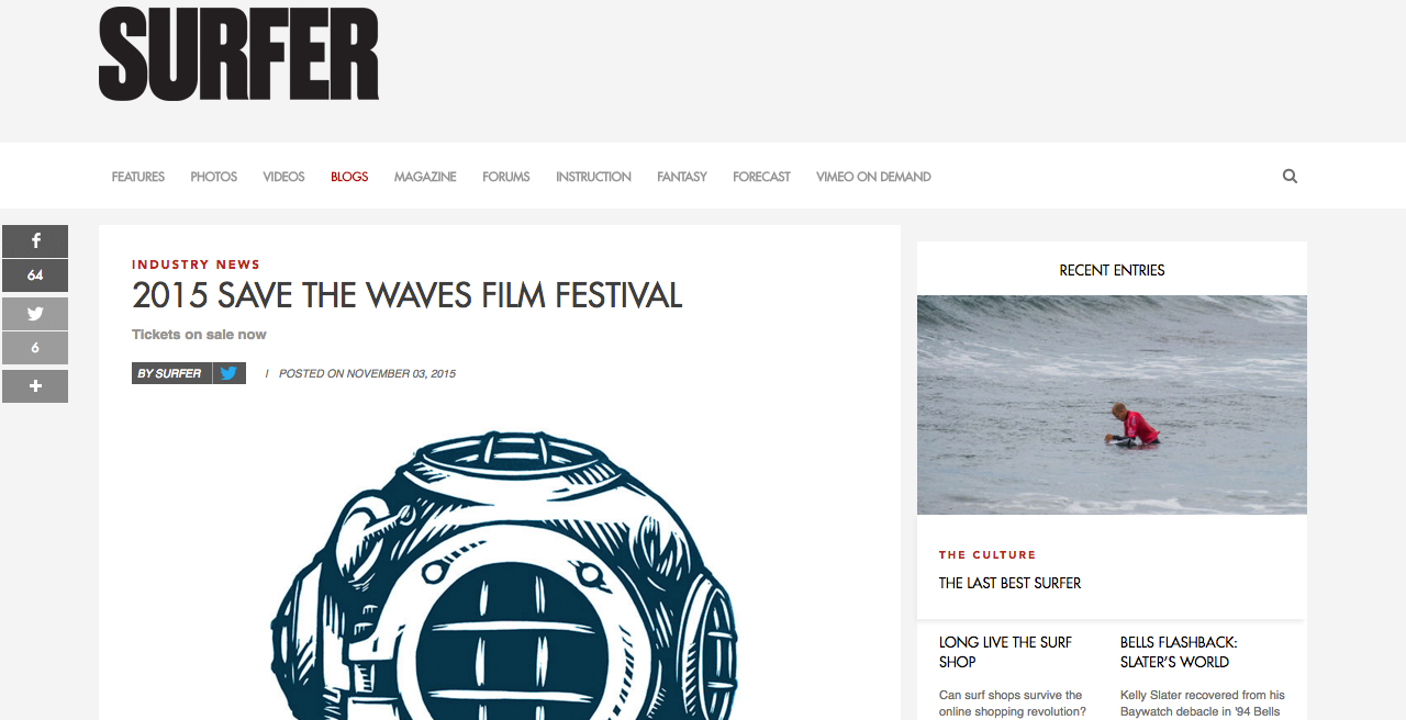 Surfer Magazine, 11/3/15