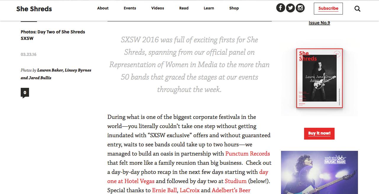 She Shreds Magazine, 3/23/16