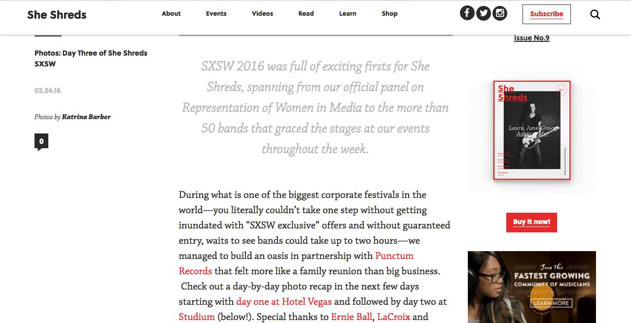 """<font size=""""medium"""">She Shreds Magazine, 3/24/16 </font>"""