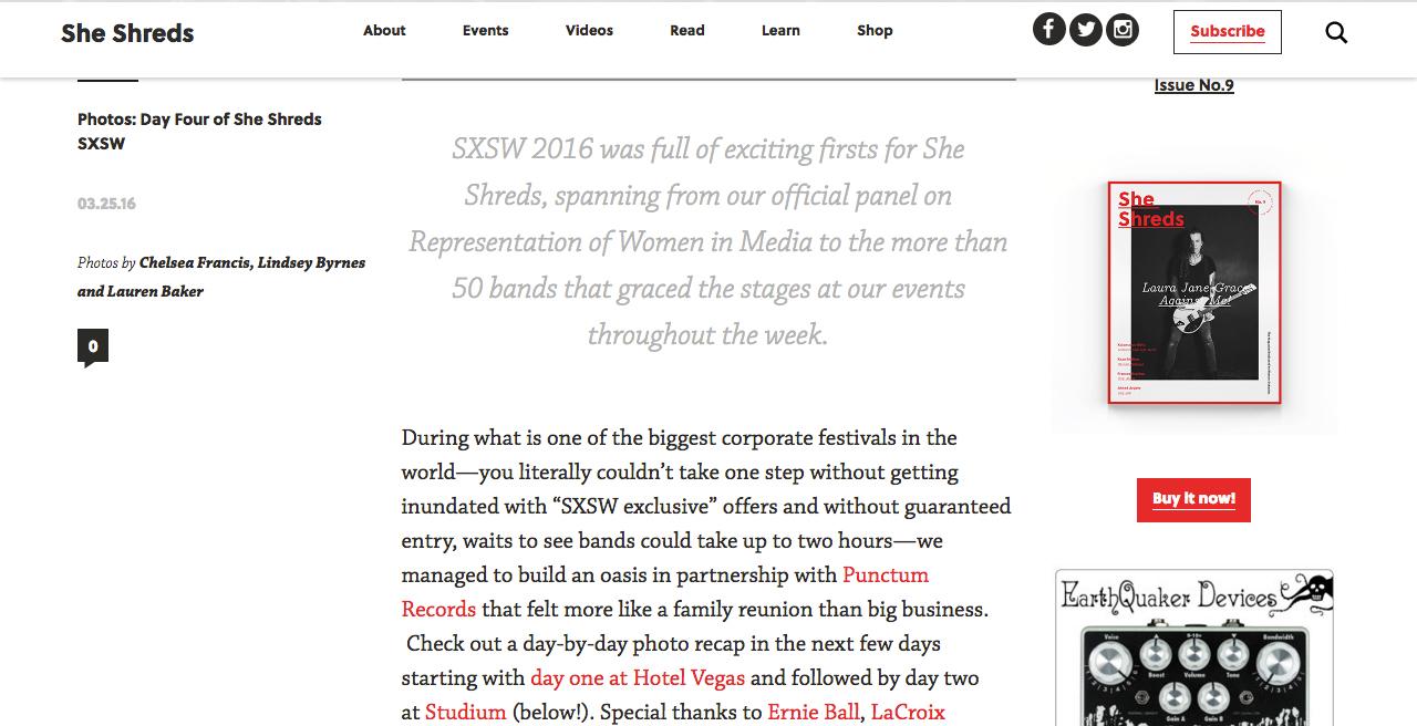 She Shreds Magazine, 3/25/16