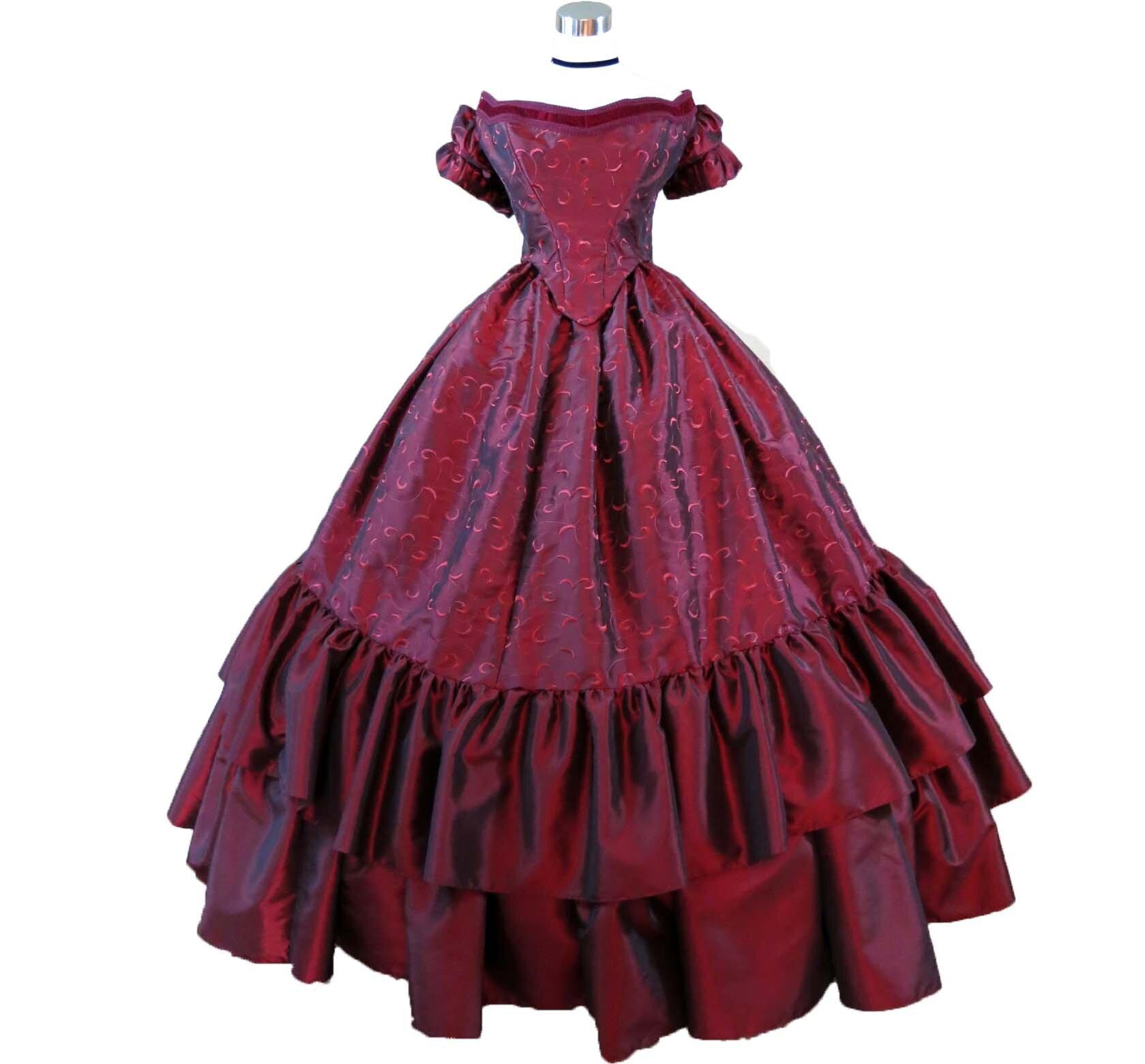 Red Taffeta Ensemble Waist 32 34 Civil War Ball Gowns Costume