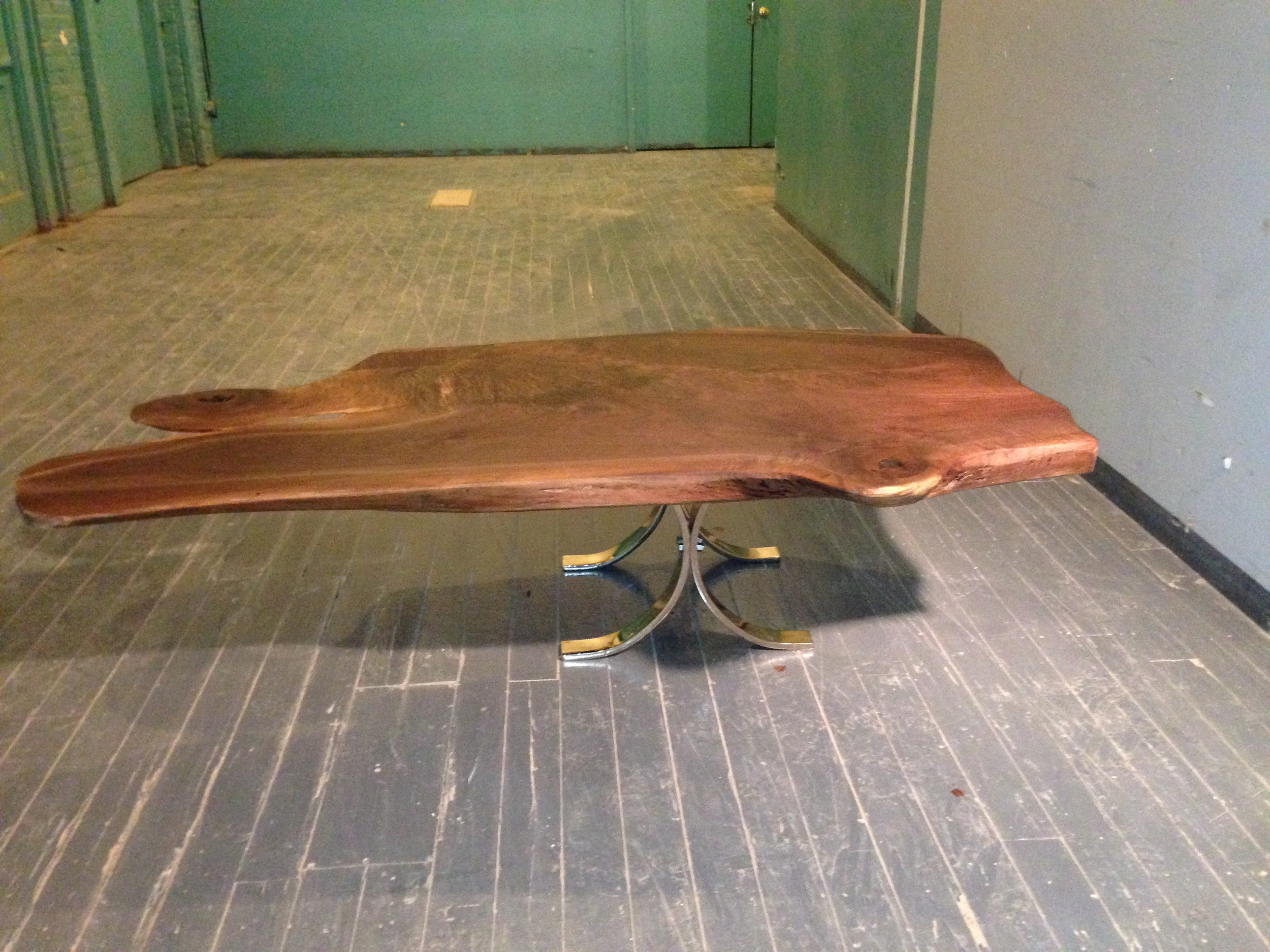 Walnut Coffee Table with Nickel-Plated Legs