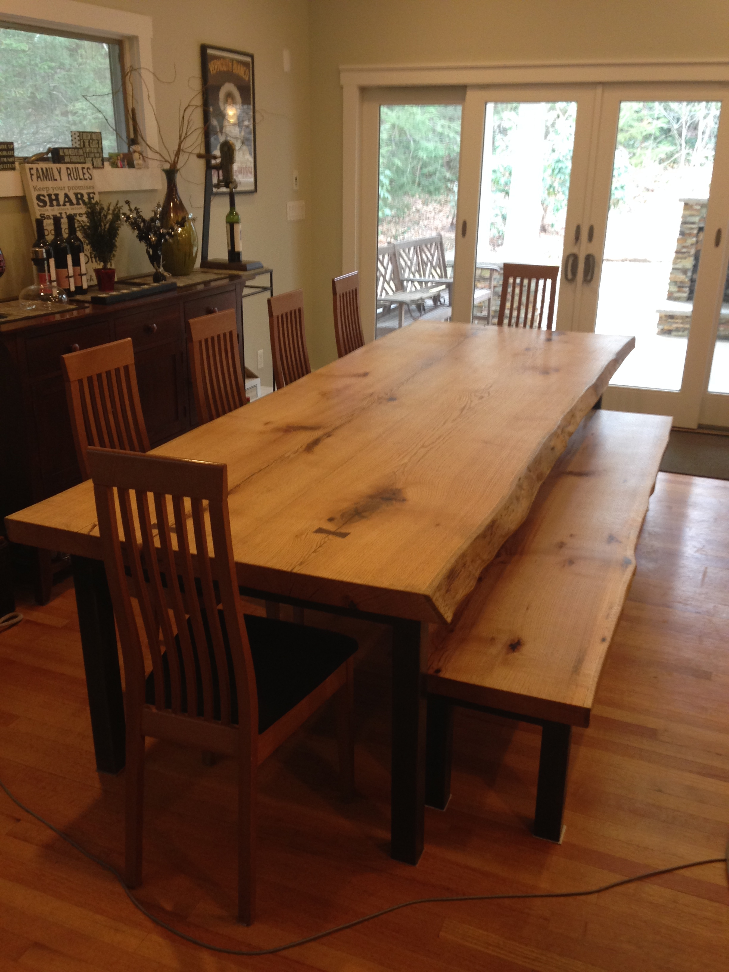 Hurricane Sandy Oak Table and Bench