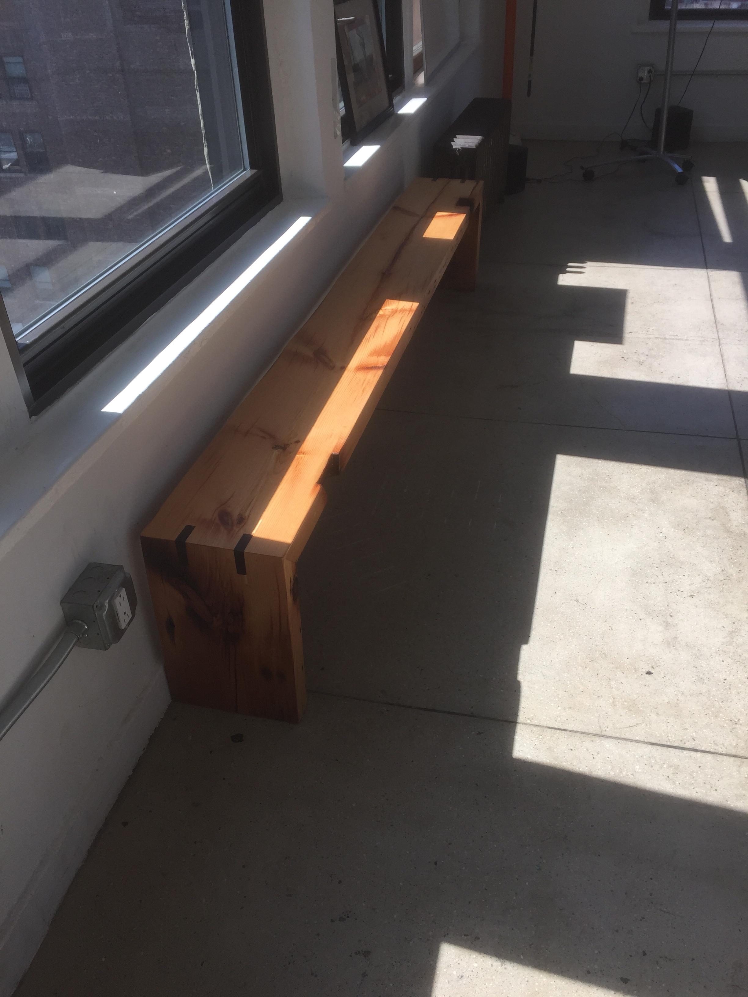 8' Bench with Walnut Splines