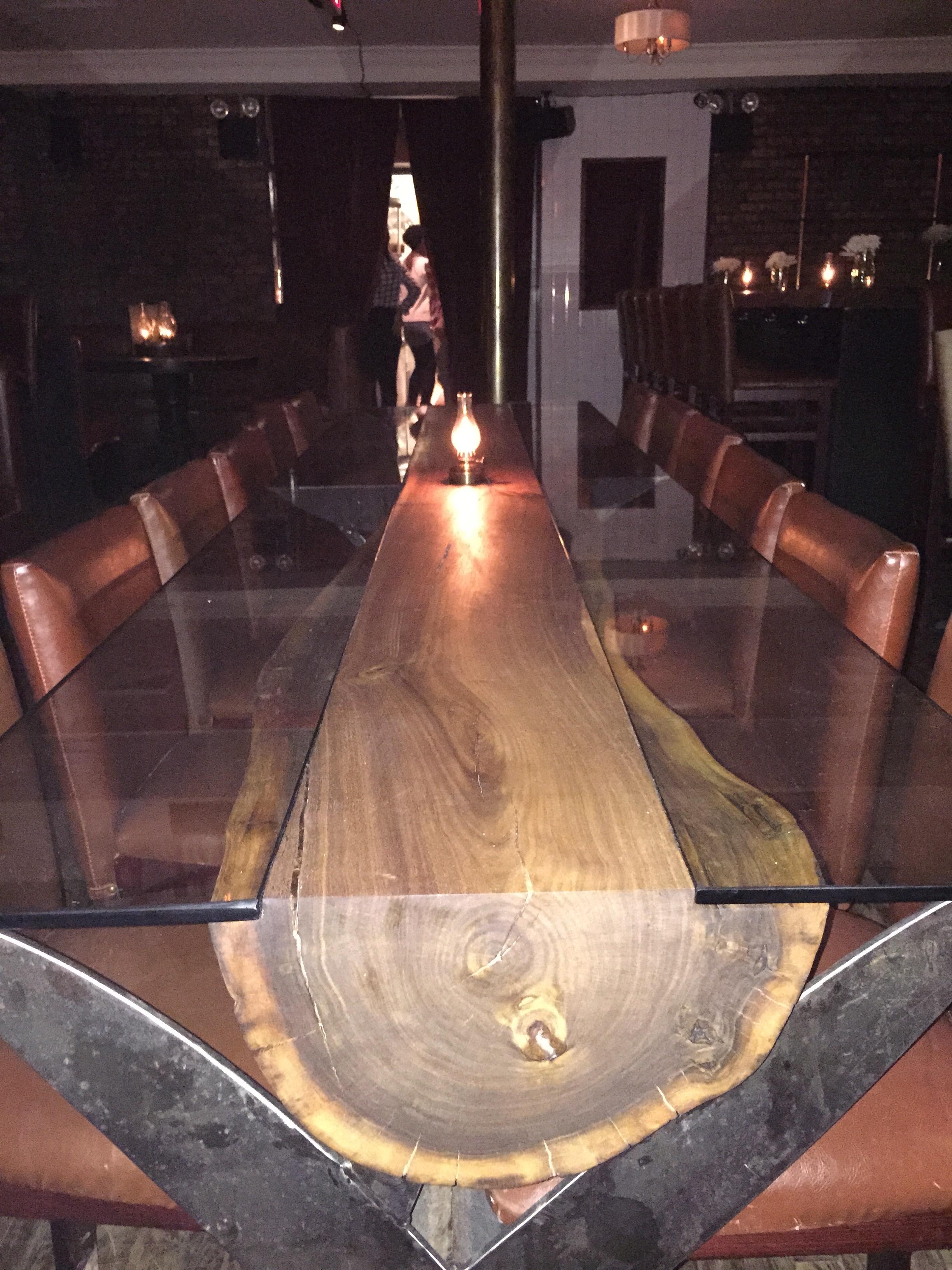 Walnut Log Table with Metal Scissors Base