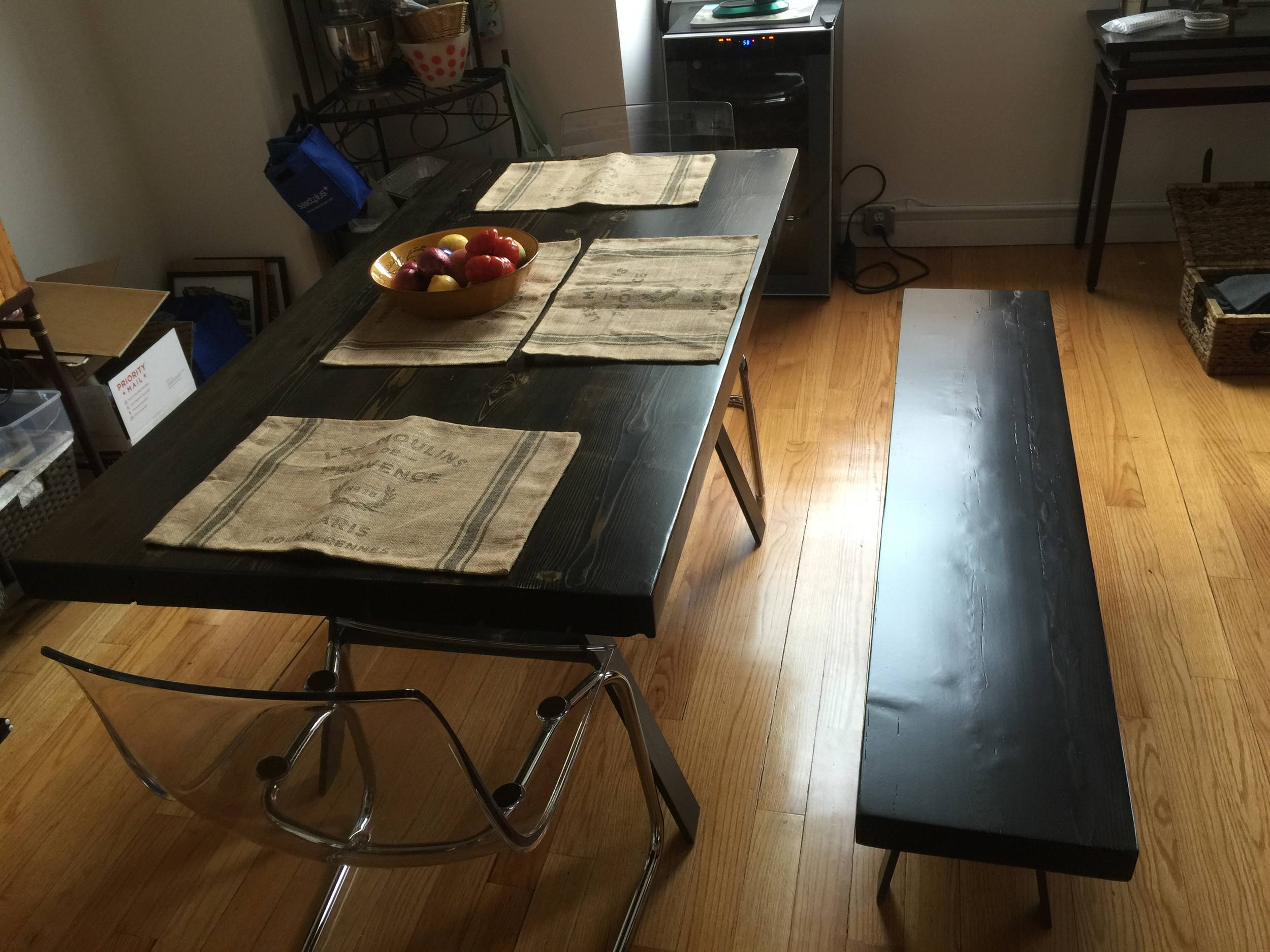 Ebony Stained White Pine Table and Bench