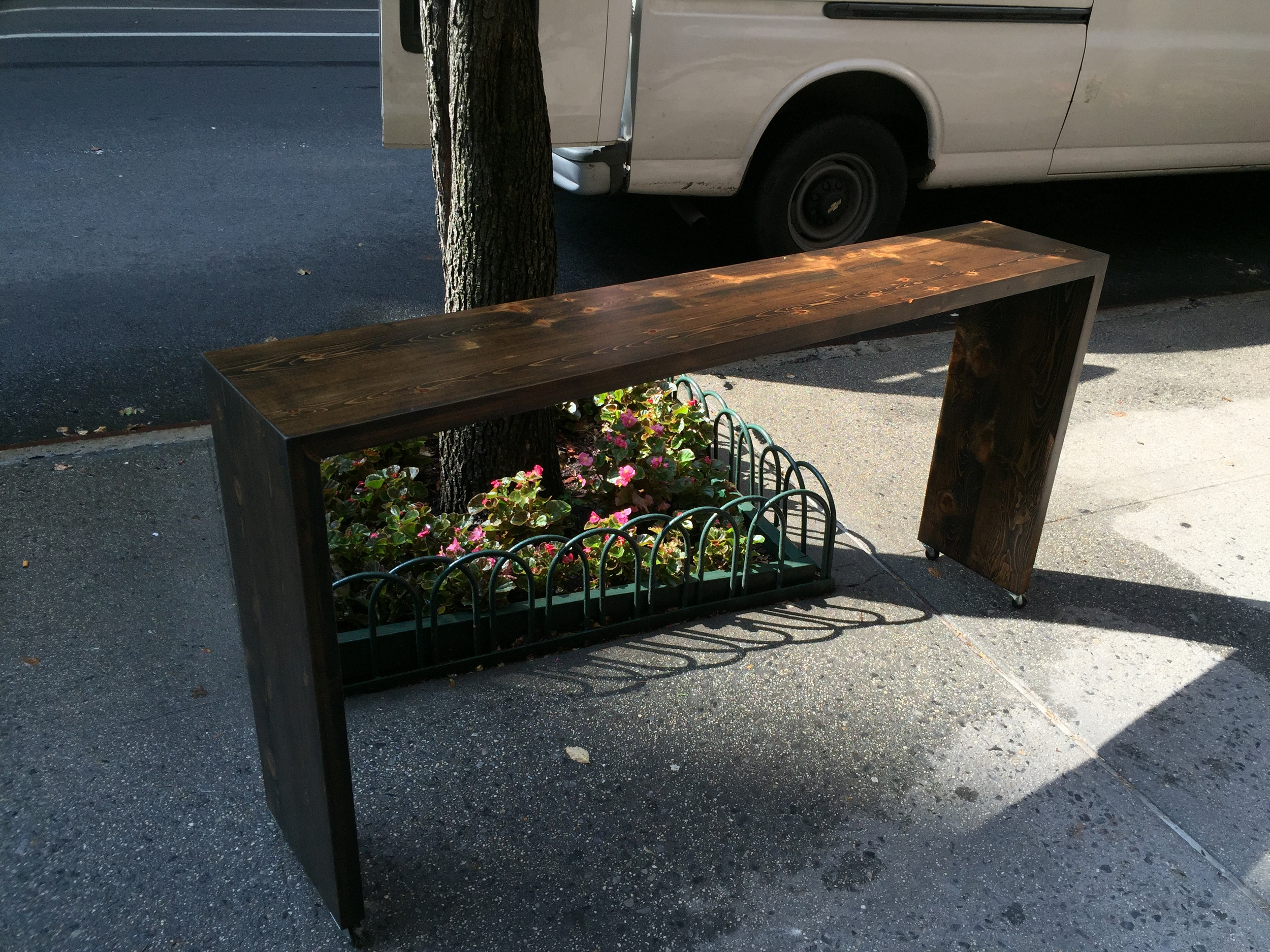 Walnut Stained White Pine Rolling Bed Table
