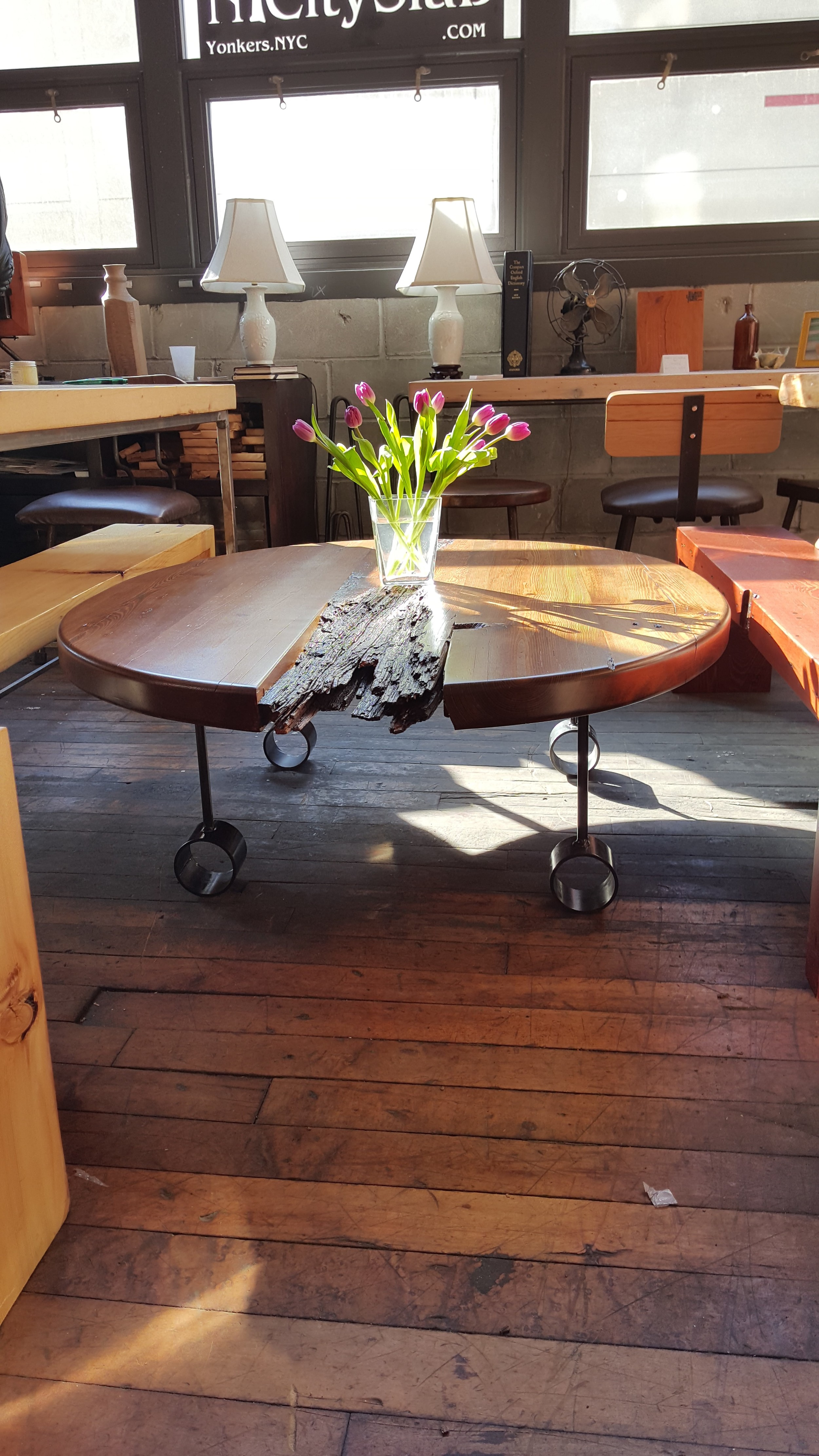 Round Distressed Reclaimed Wood Table