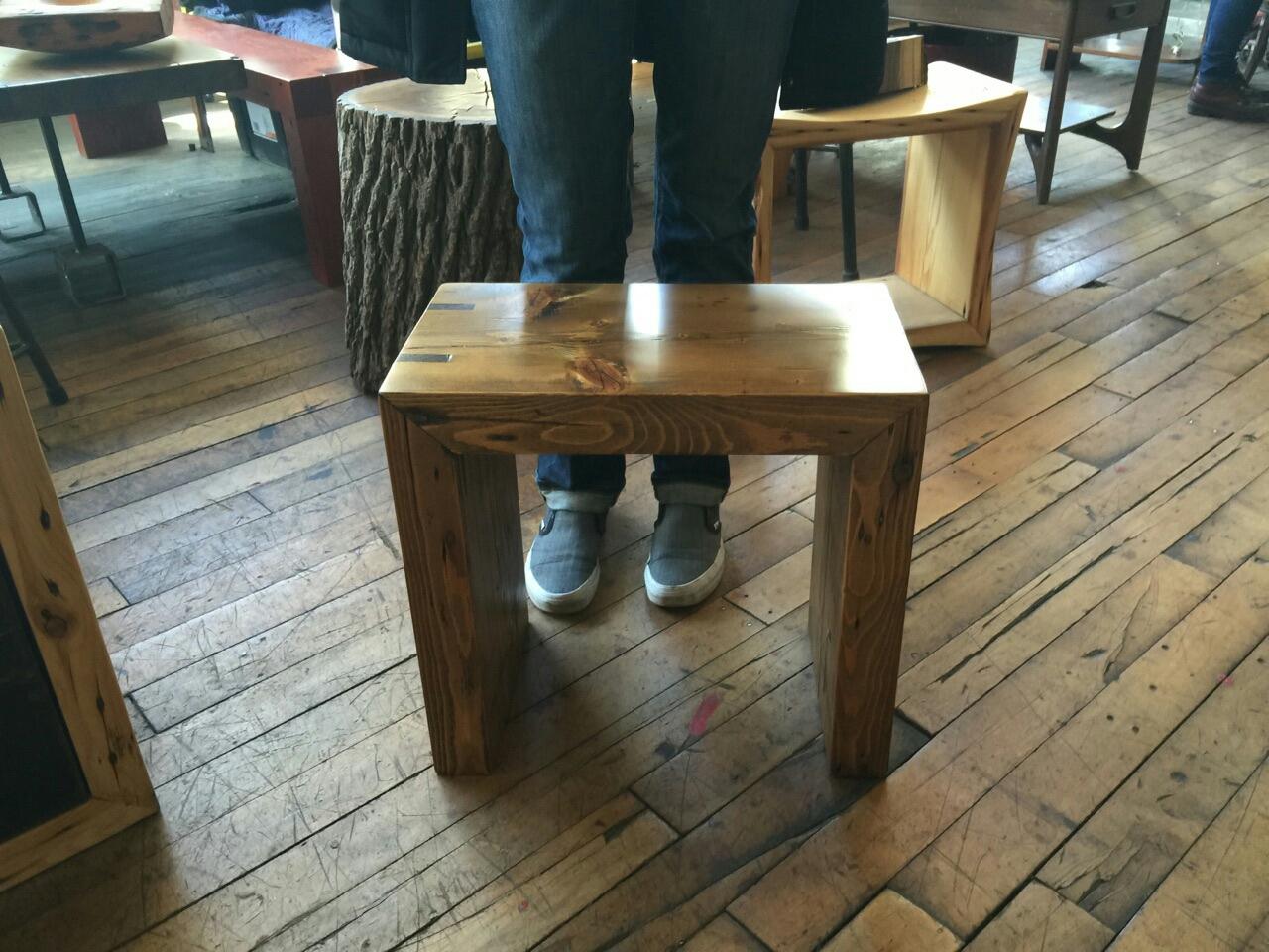 18 x 10 x 18 stained White Pine bench with Walnut splines.