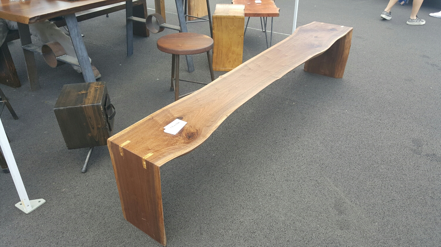 """90""""L live edge, Walnut bench with spalted Maple inlays. Quite the conversation piece."""