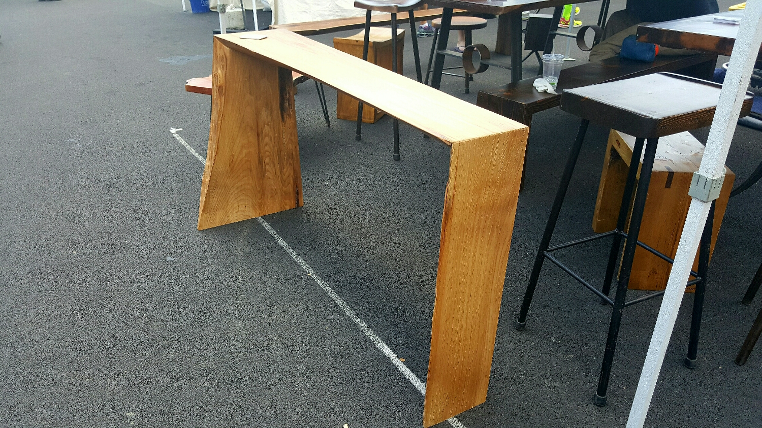 """55 1/4""""L Elm console table. Continuous grain. Sleek, sexy and very dramatic."""