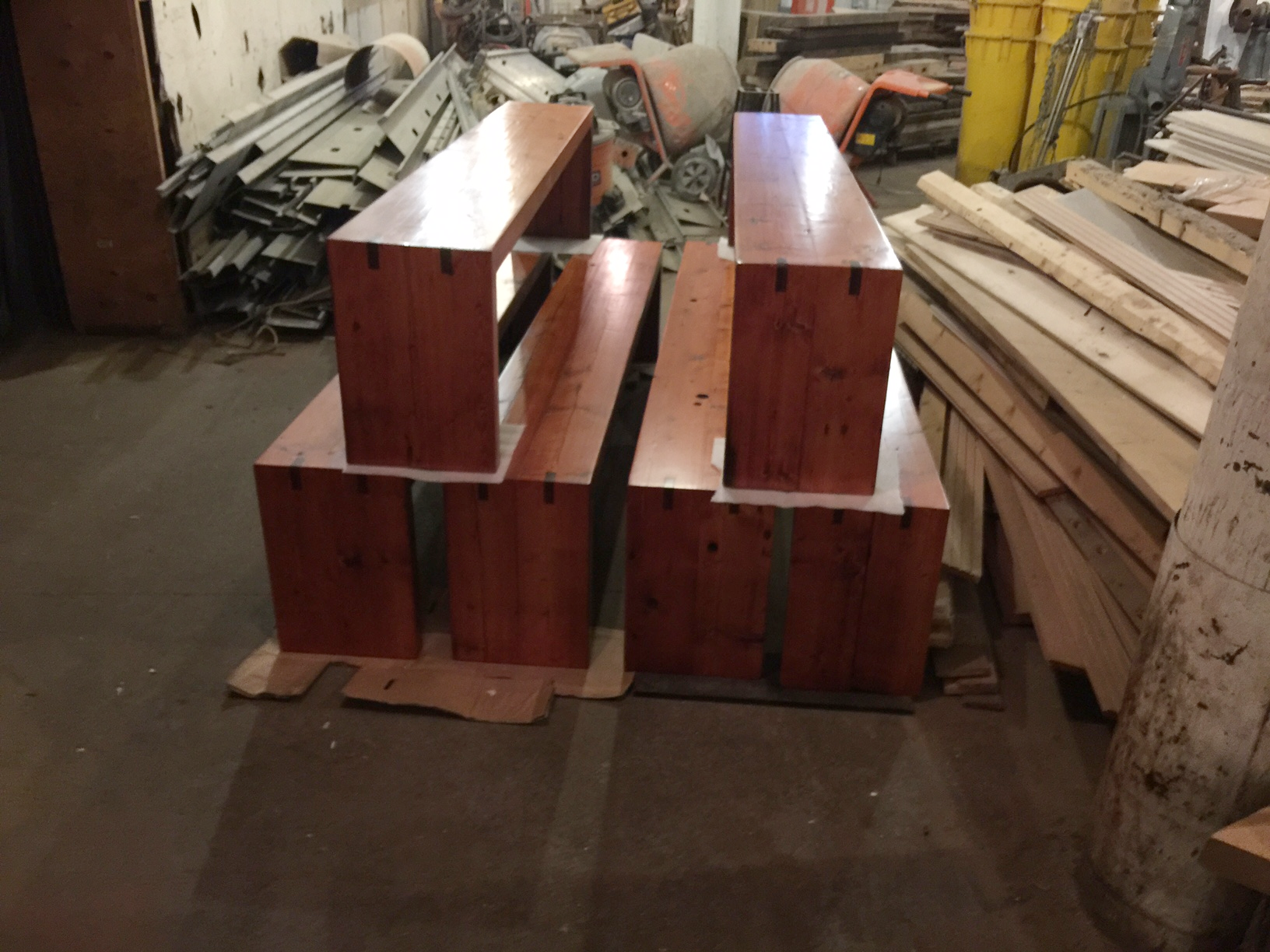 Stained White Pine Benches
