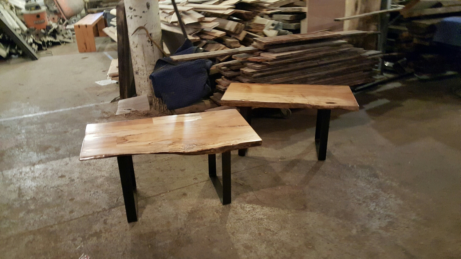 Pair of spalted Maple benches with U shaped legs