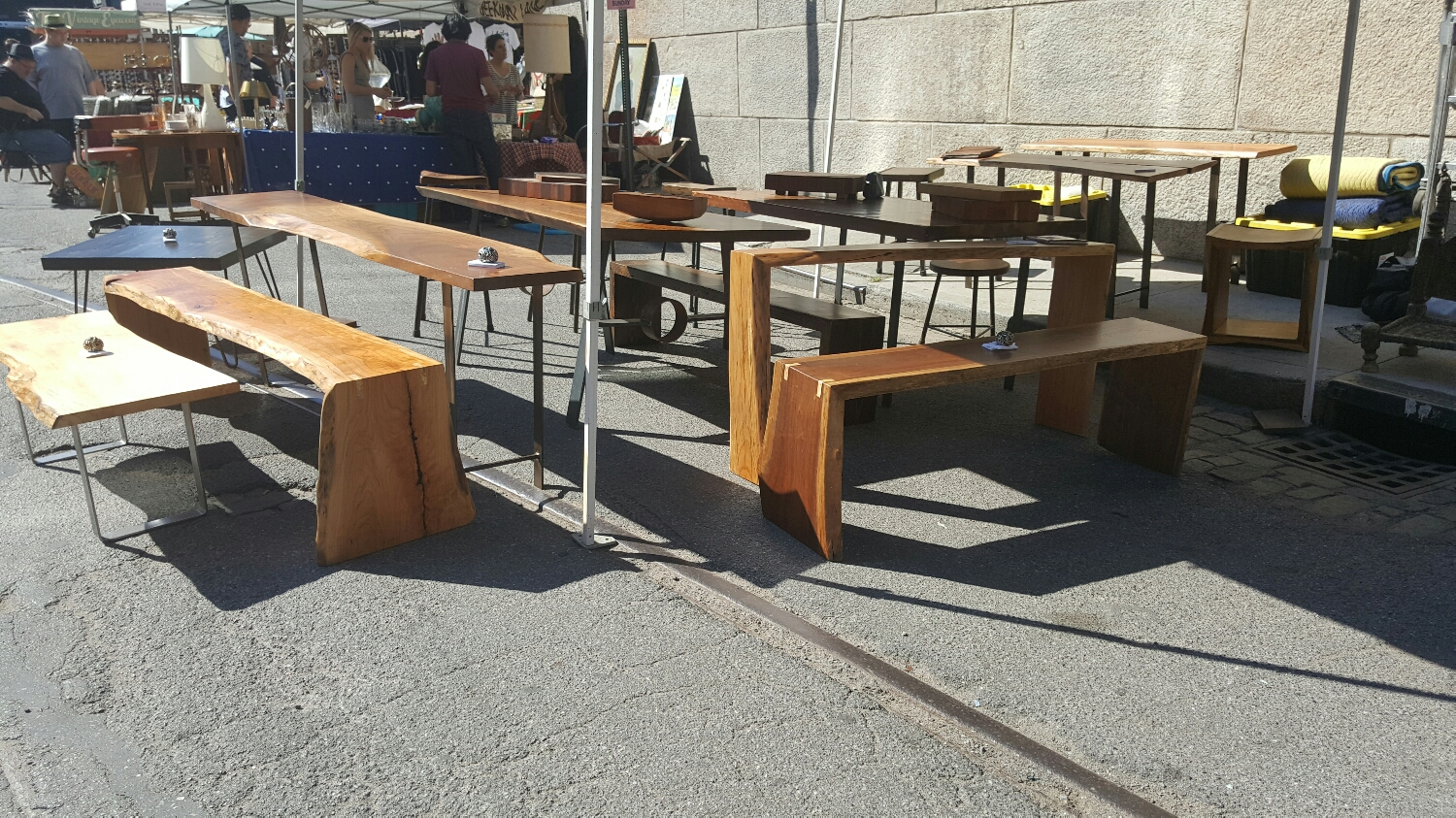 Come see our handcrafted tables, benches, stools, etc.