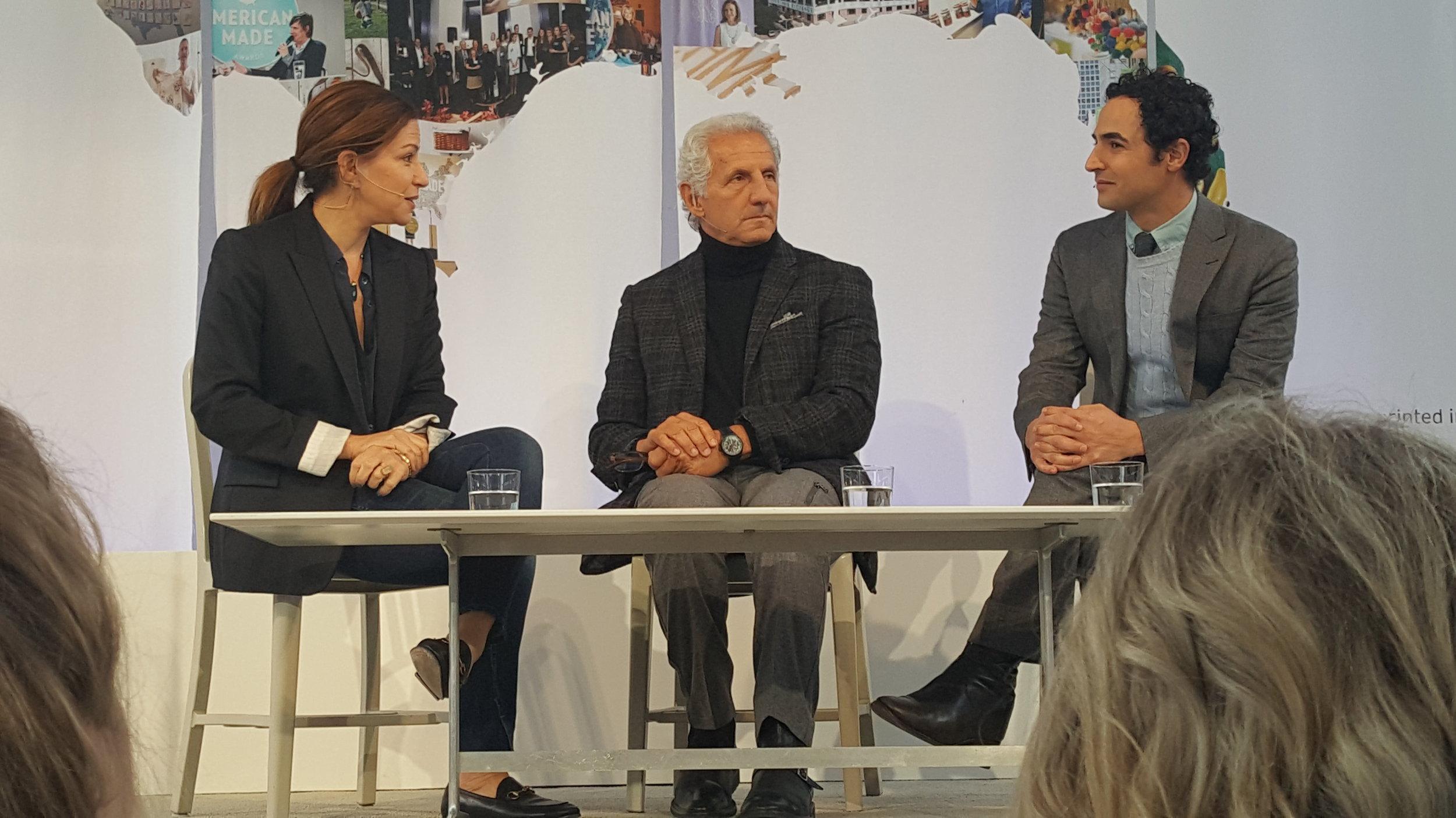 Deborah Needleman of T Magazine, designers Joseph Abboud and Zac Posen