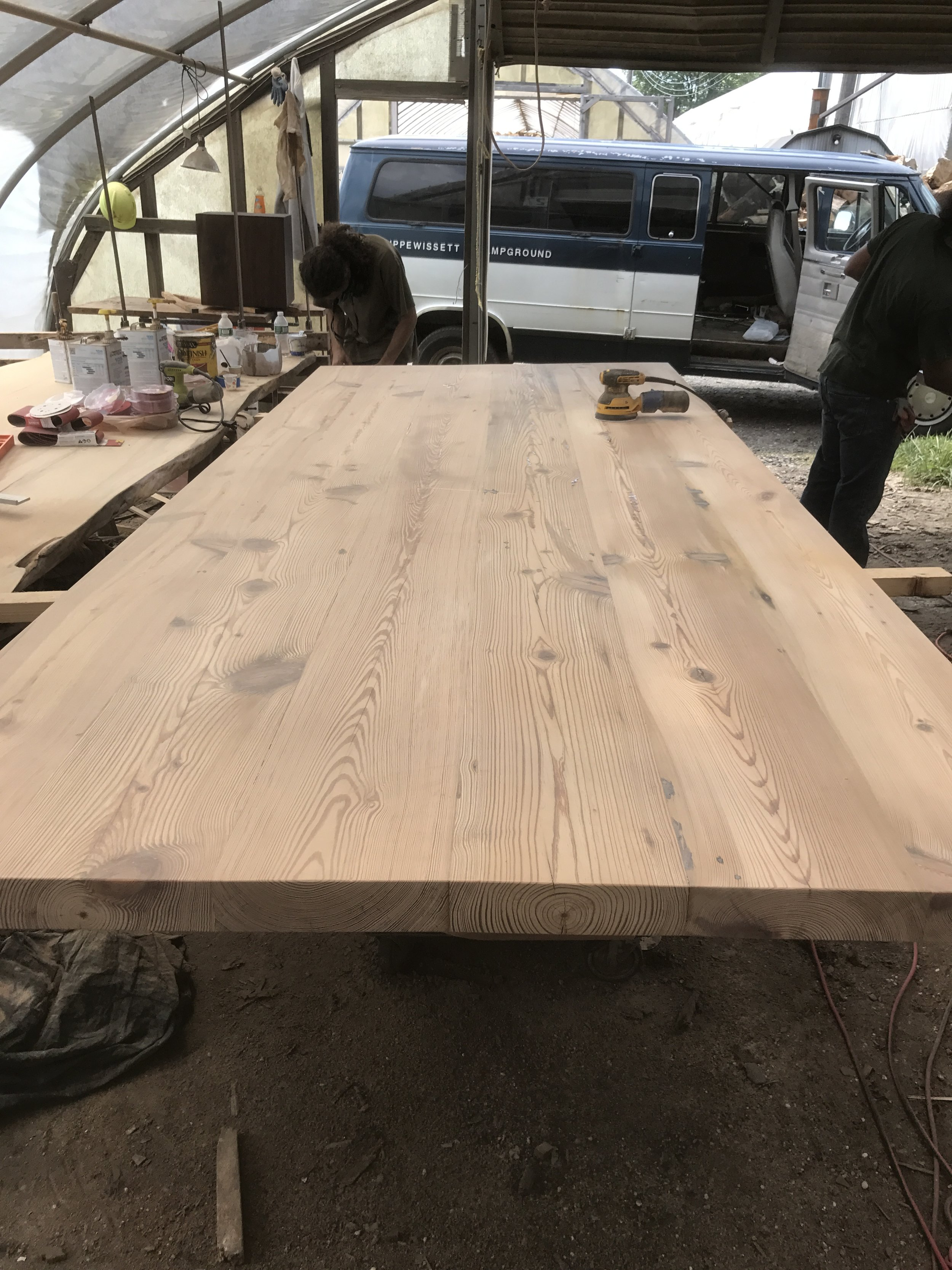 """yellow pine table 60wide 2.5"""" thick and very heavy"""