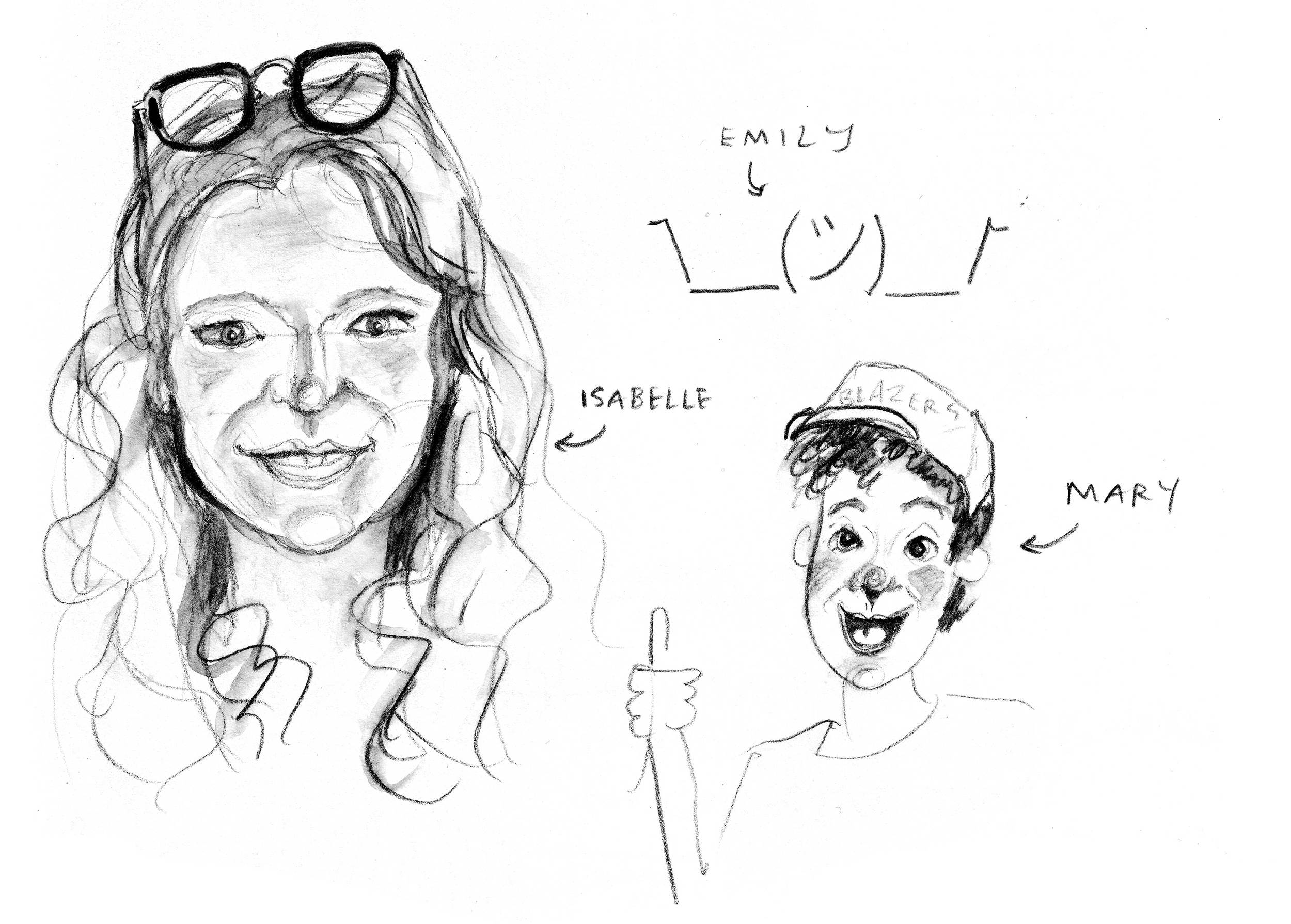 Brunch portraits, water-soluble graphite, 2013
