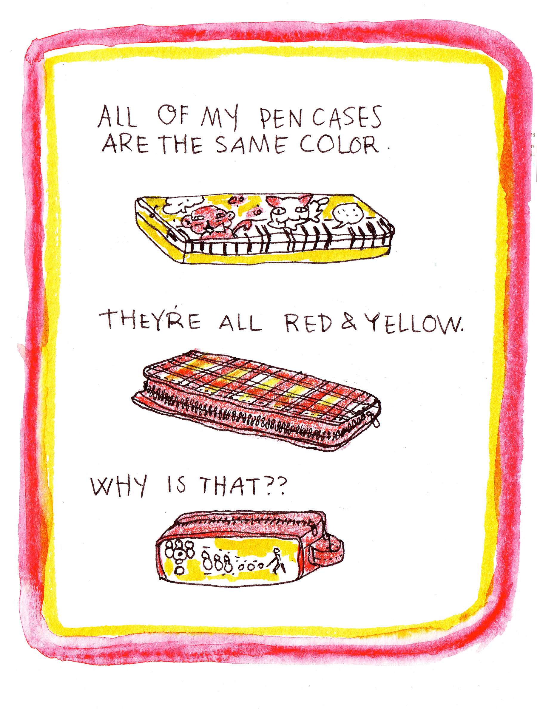 Red & Yellow, ink and watercolor, 2014