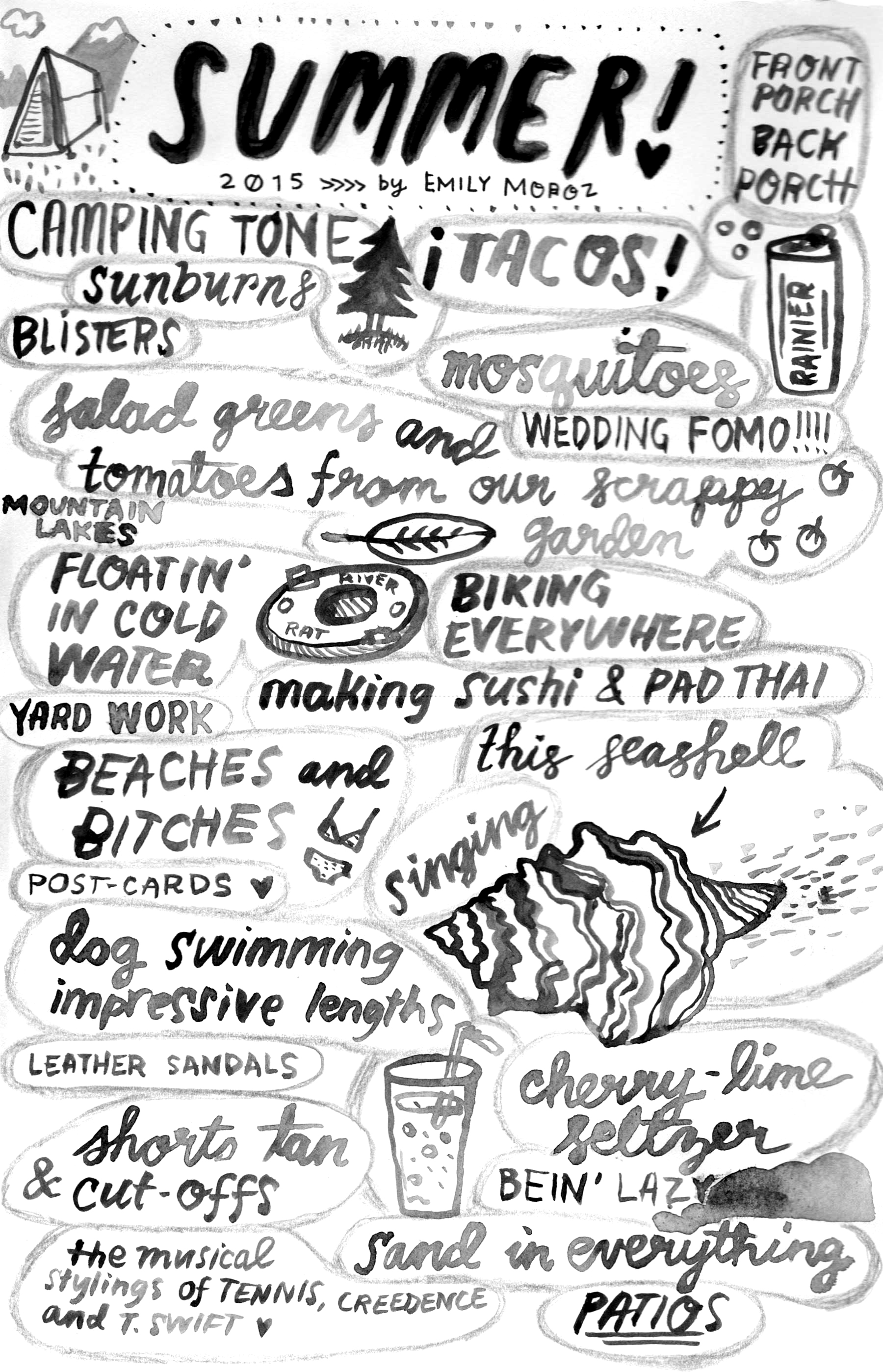 Summer List , contribution for  Summer List Zine  by Juli Jumprope, ink and watercolor, 2015