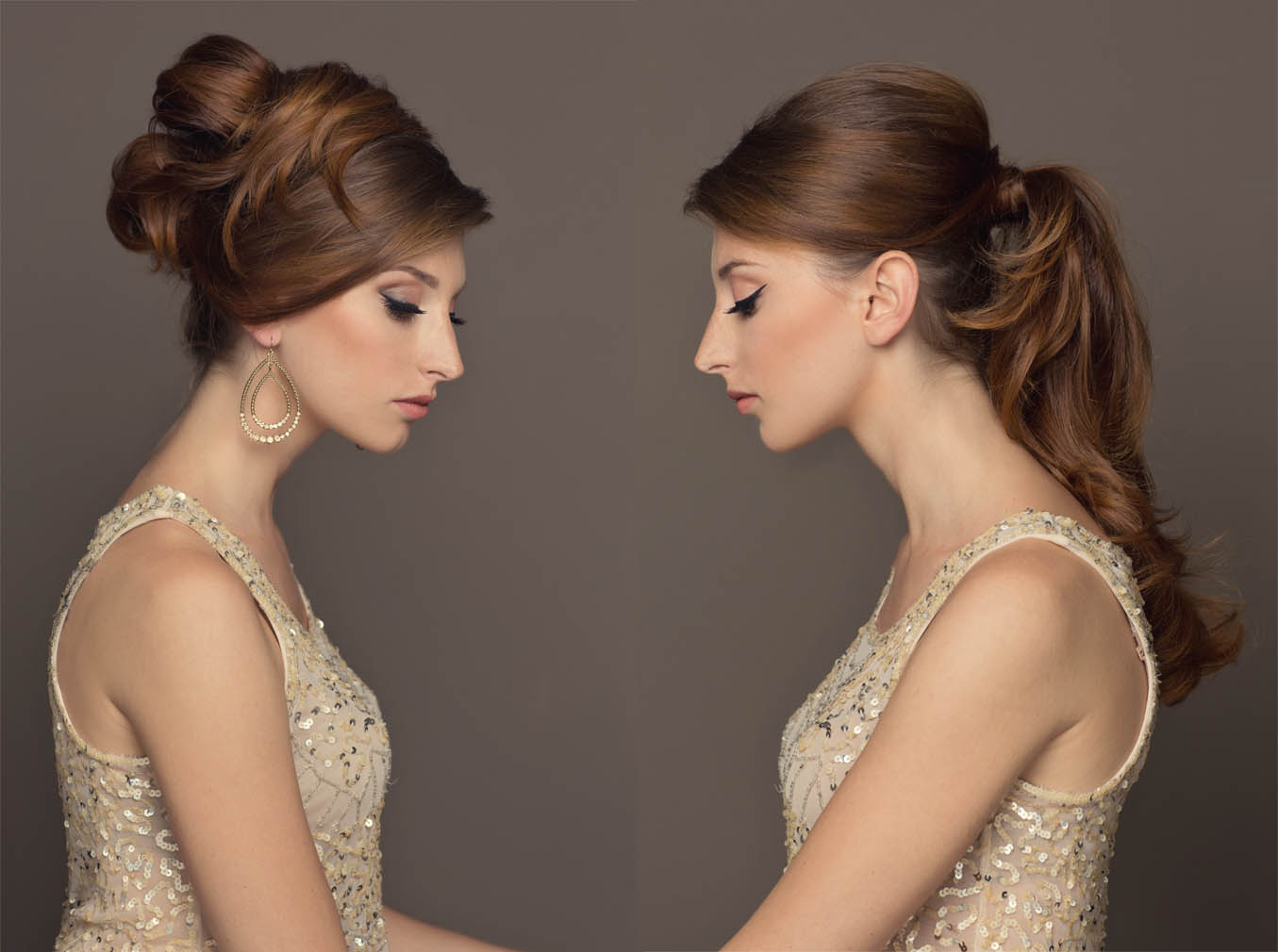 long glamorous ponytail and 60's hair