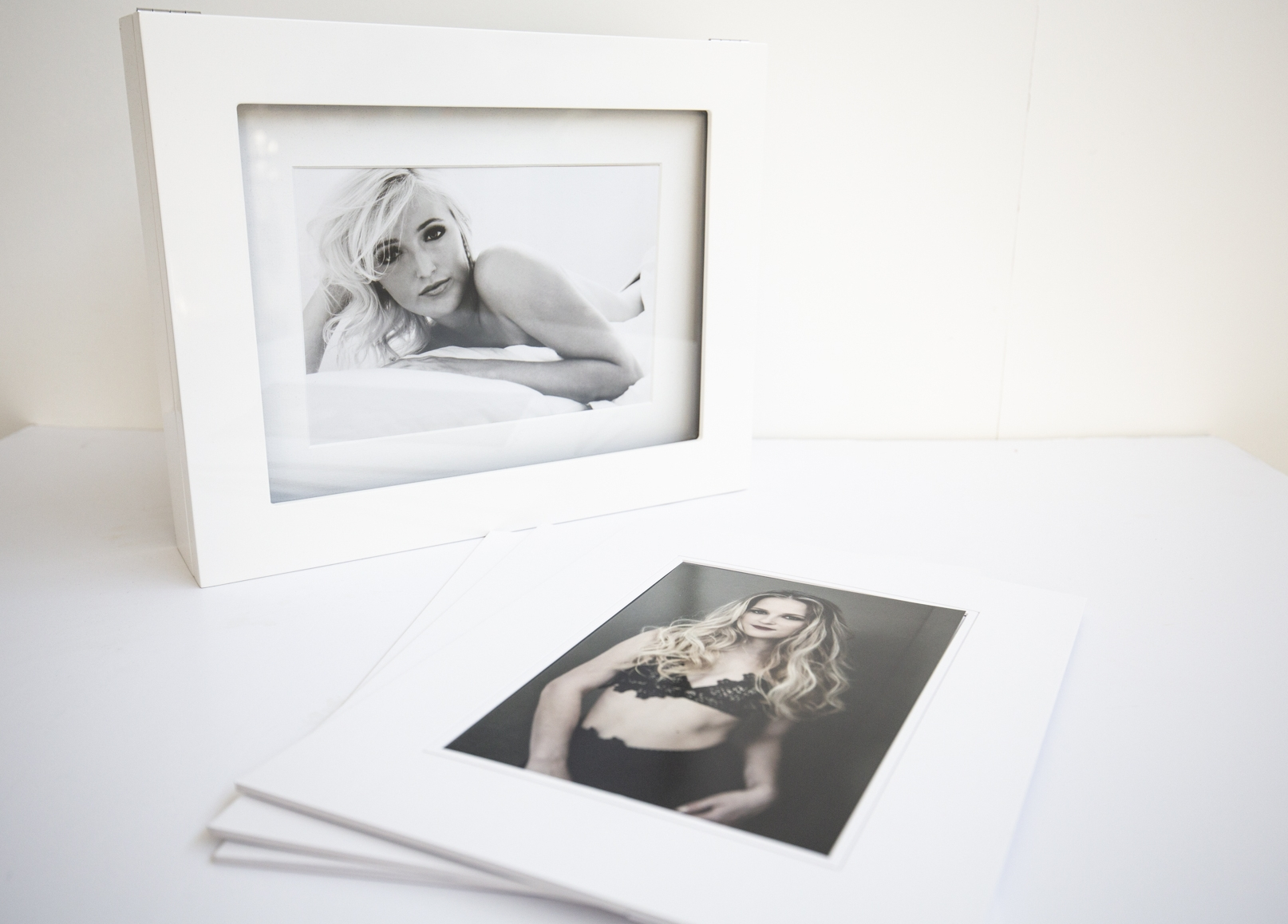 Photo display box with matted prints