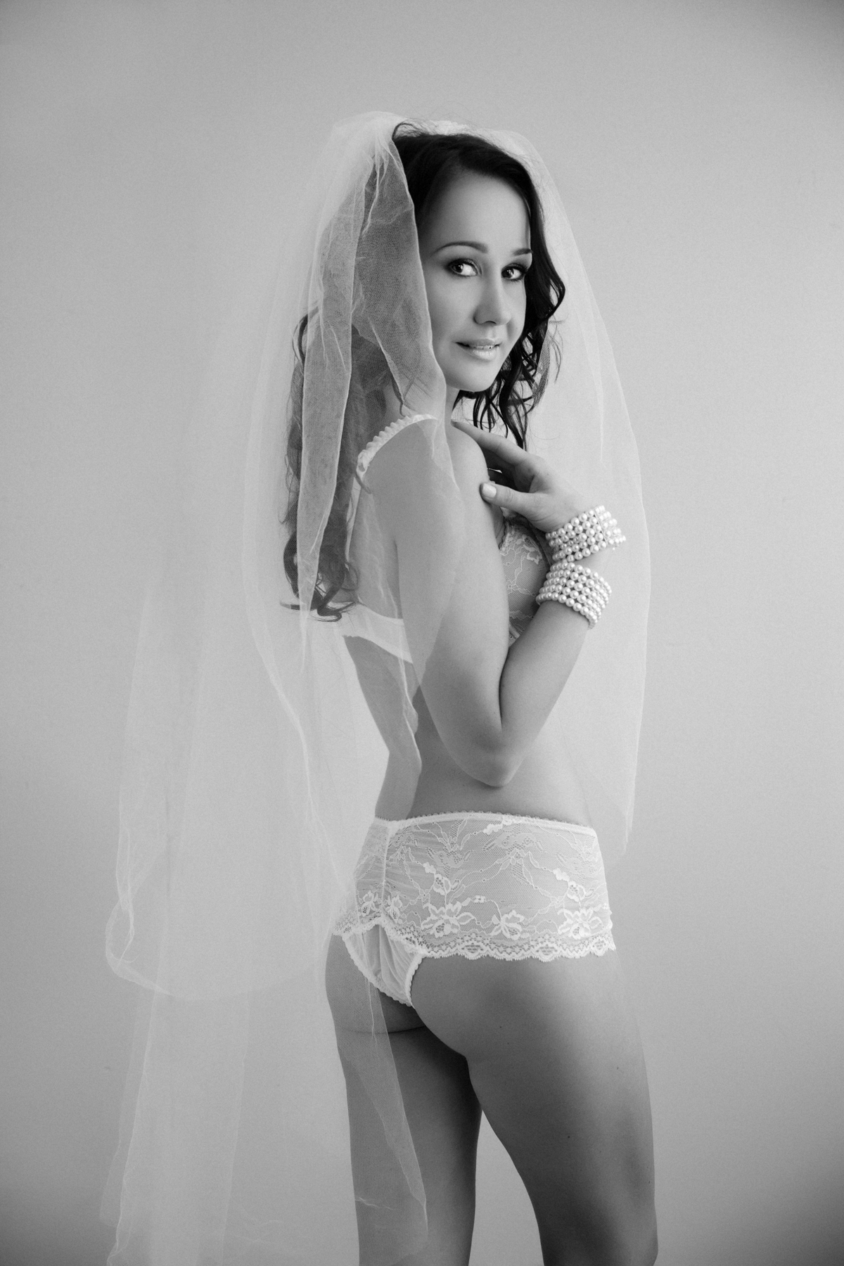 Bride in wedding lingerie