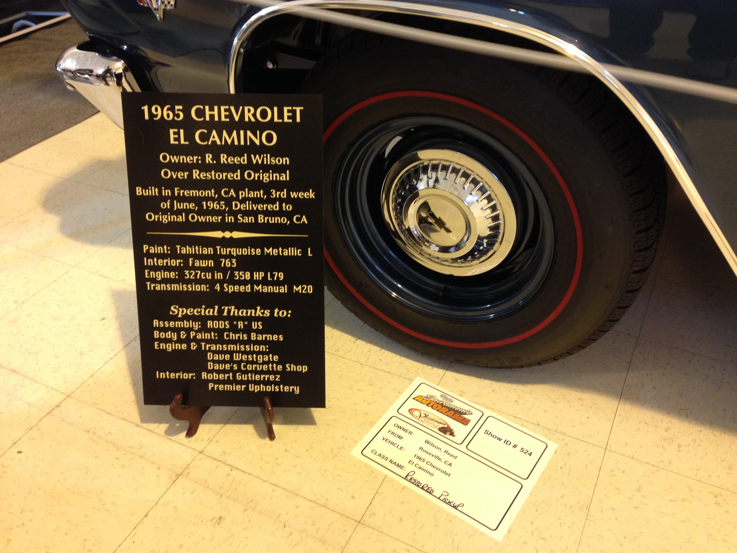 Show card at Autorama, we won first in class.
