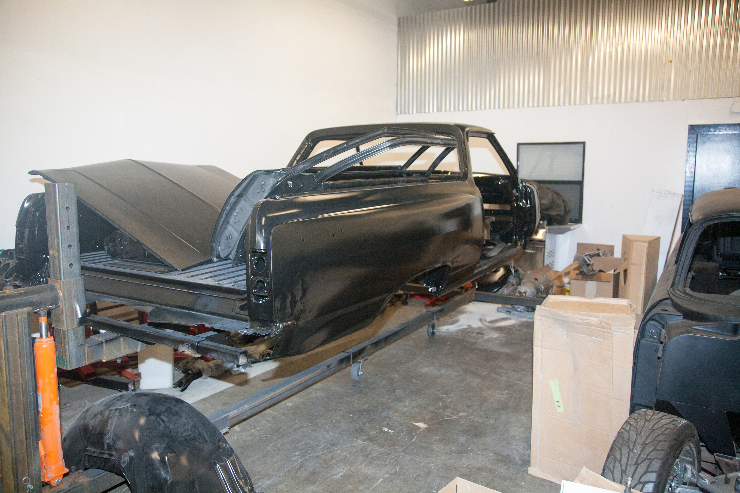 The body has been sand blasted and the rust and damage areas can now be repaired.
