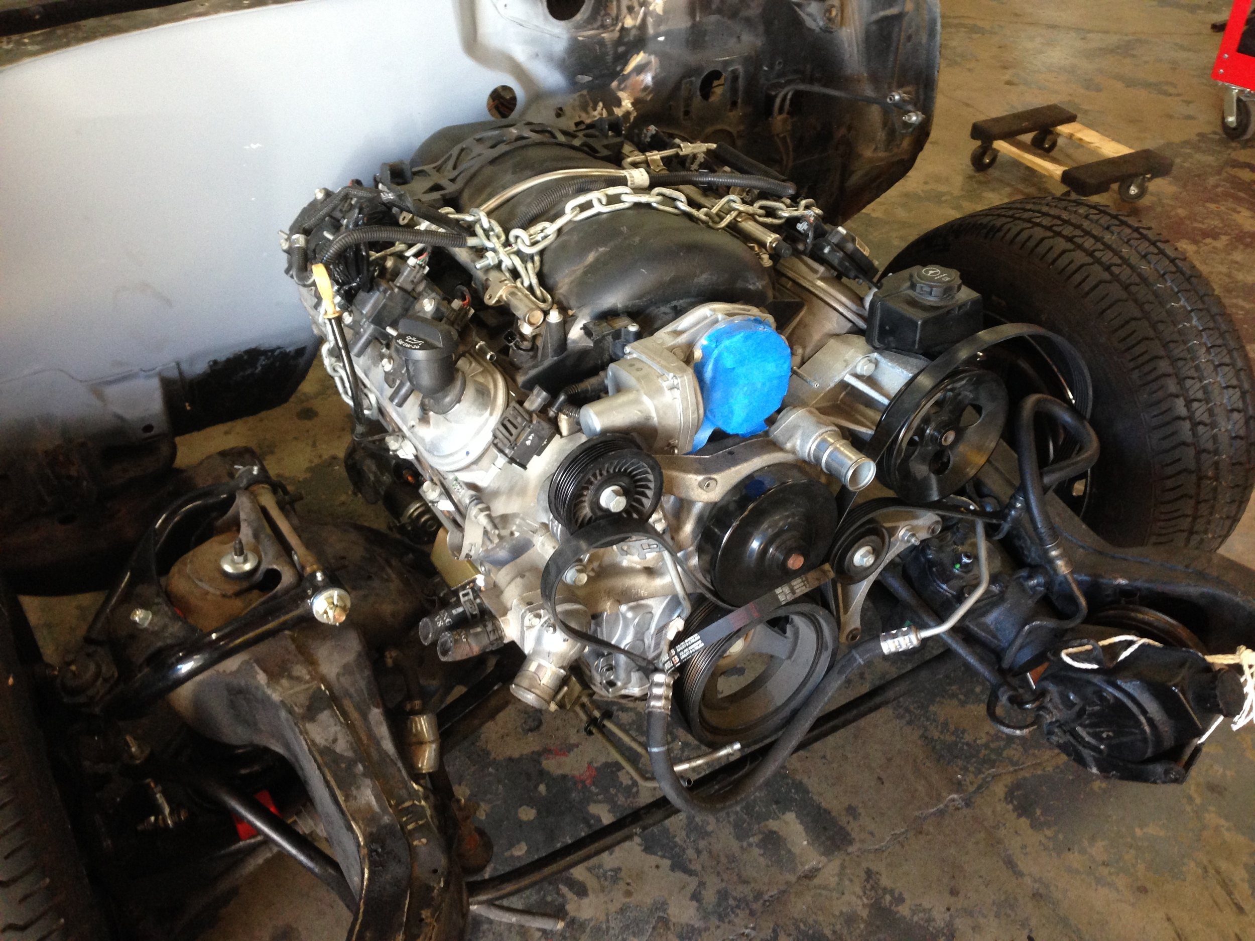 The LS3 and 6 speed manual are mounted up!
