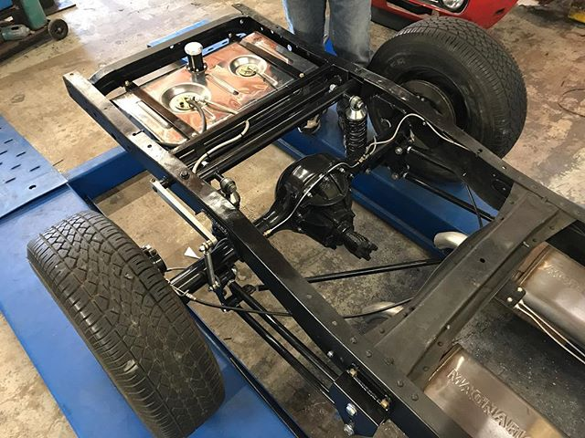 "Nick wrapping up this F100 chassis, 4-link with coil overs, 9"", disk brakes, and a stainless steel EFI fuel tank. We have some sheet metal work to do next and then this truck is off to paint."