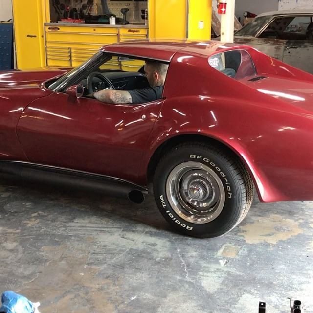 Just wrapped up this 73 Vette, fresh camm'ed big block with straight side pipes.
