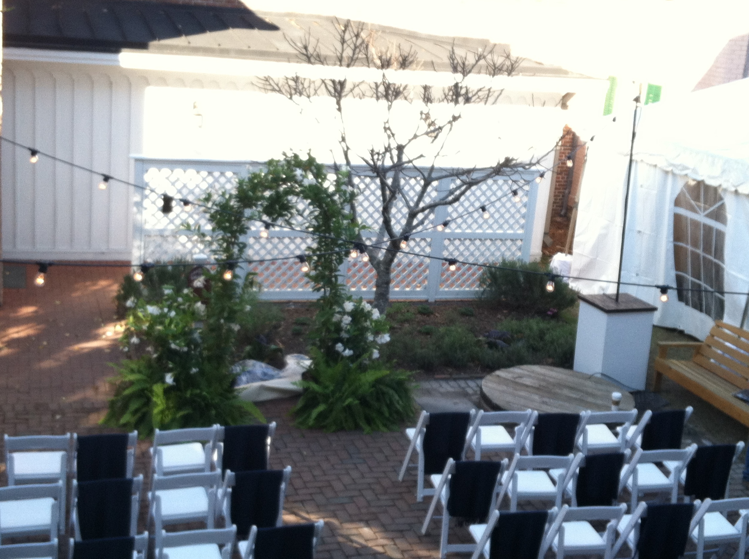 Edison Lighting hung over patio ceremony.