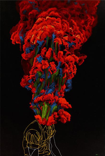 "Bloom | 2011 | Gouache on black paper | 20"" x 30"""