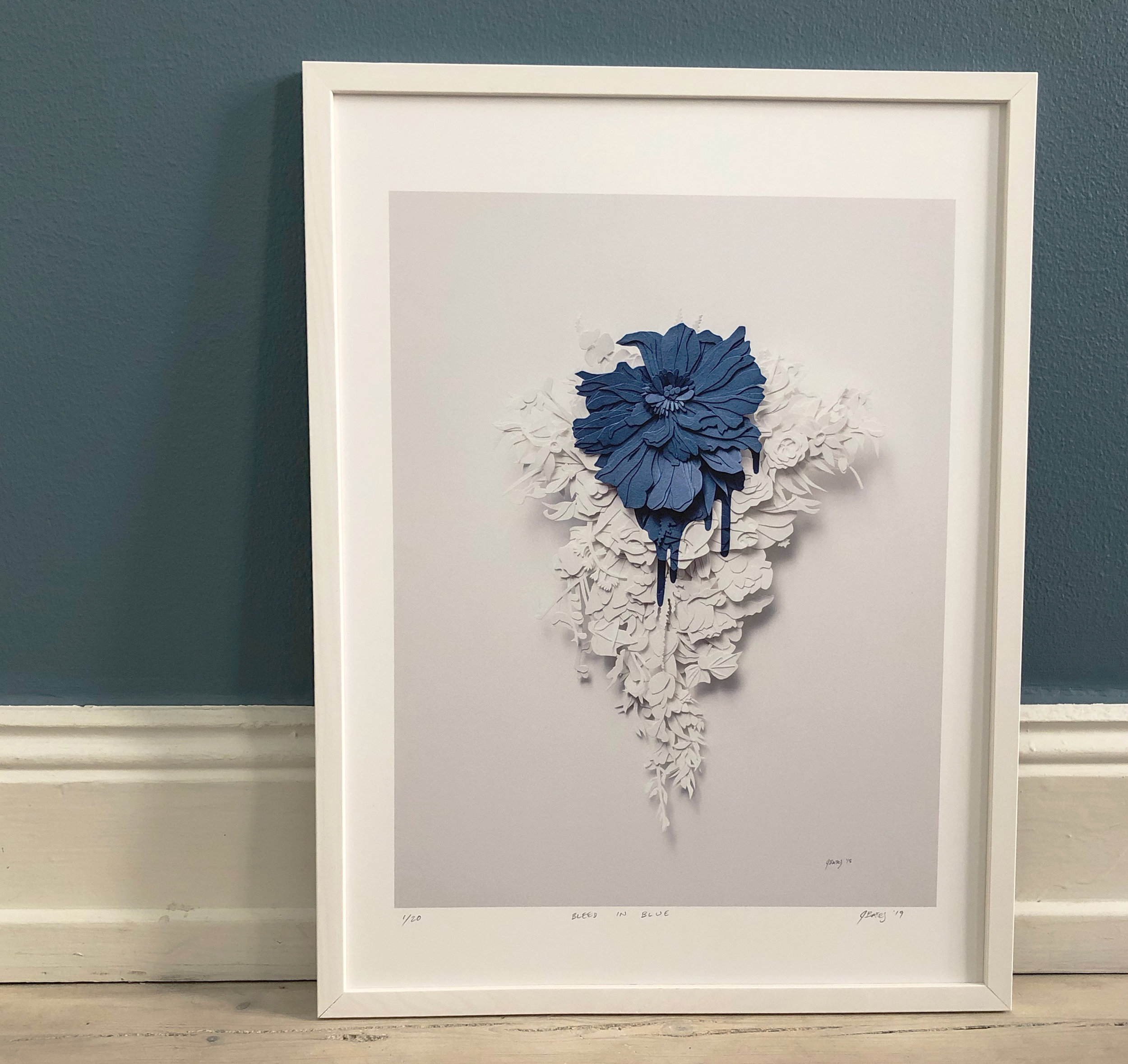 Bleed in Blue Print - This is a hi-res digital print of the piece Bleed in Blue by Joey Bates. The edition is limited to 20 prints.Paper size: 33.02 x 48.26 cm (13 x 19 inches) Image size: 25 x 31.5 cm (9.75 x 12 inches)Archival ink, 100 gsm archival paper, signed and numbered by the artist$100.00 - This includes shipping* from Sweden(Frame not included)