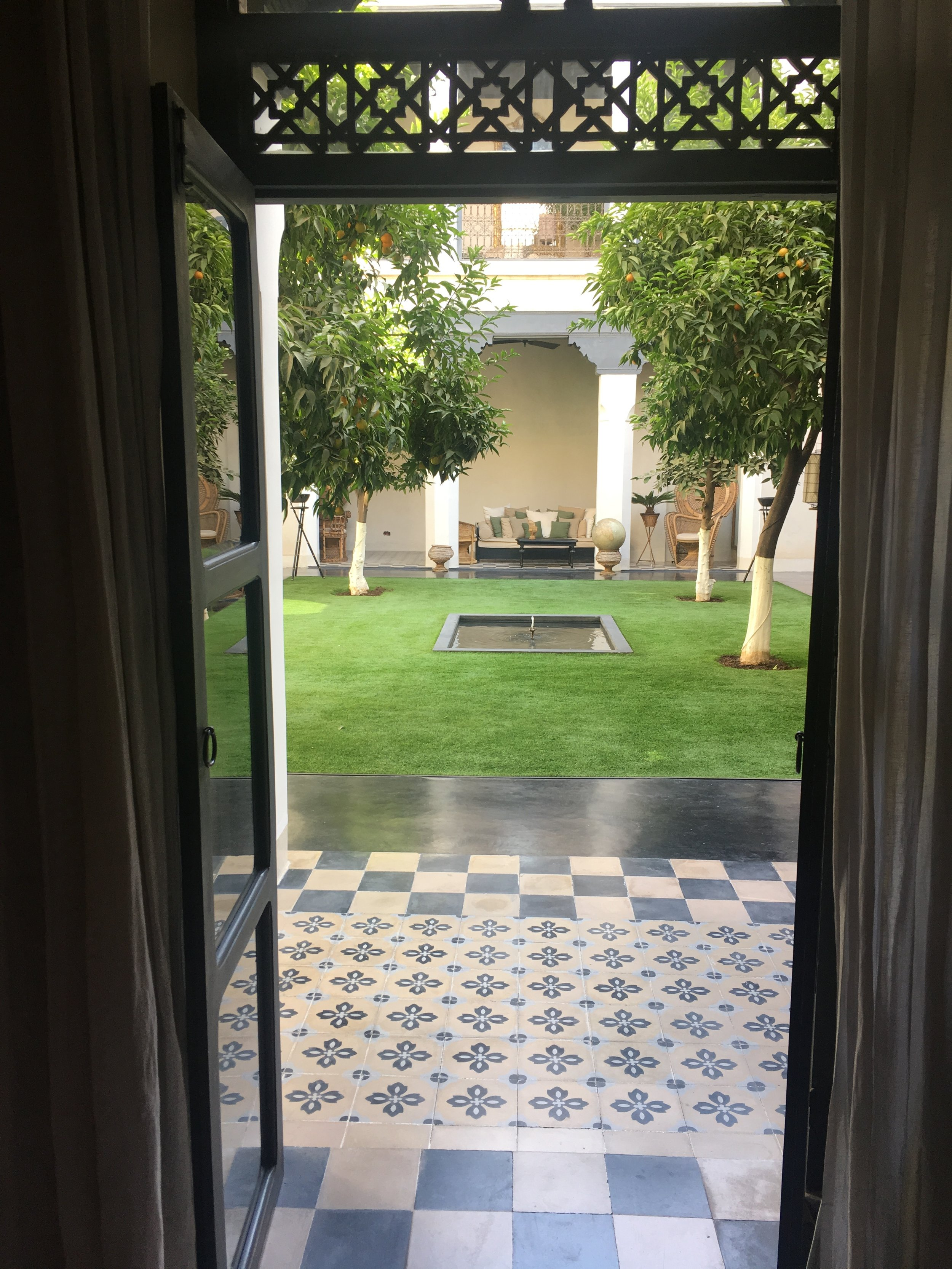 One of the courtyards at Riad de Tarabel.