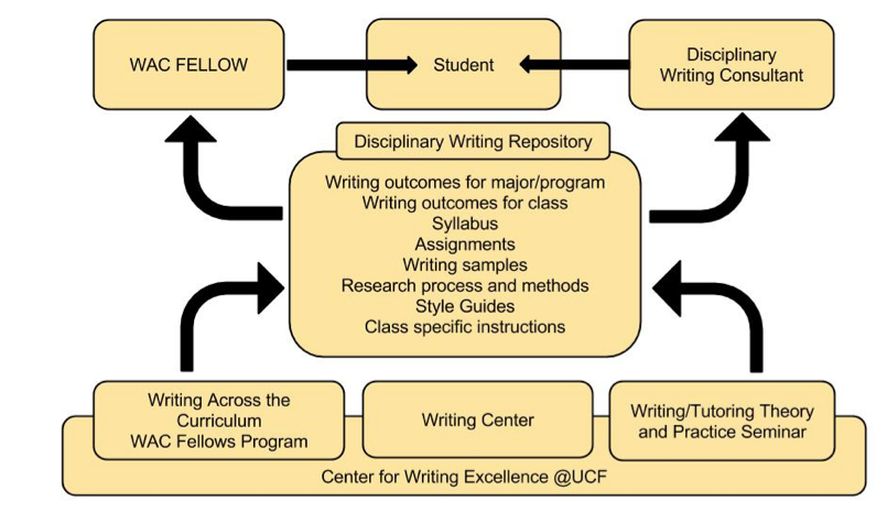 figure 1: to support student learning, faculty complete a one-semester wac fellowship and writing tutors complete a three credit-hour course and internship in the writing center before becoming a disciplinary writing consultant in the university writing center