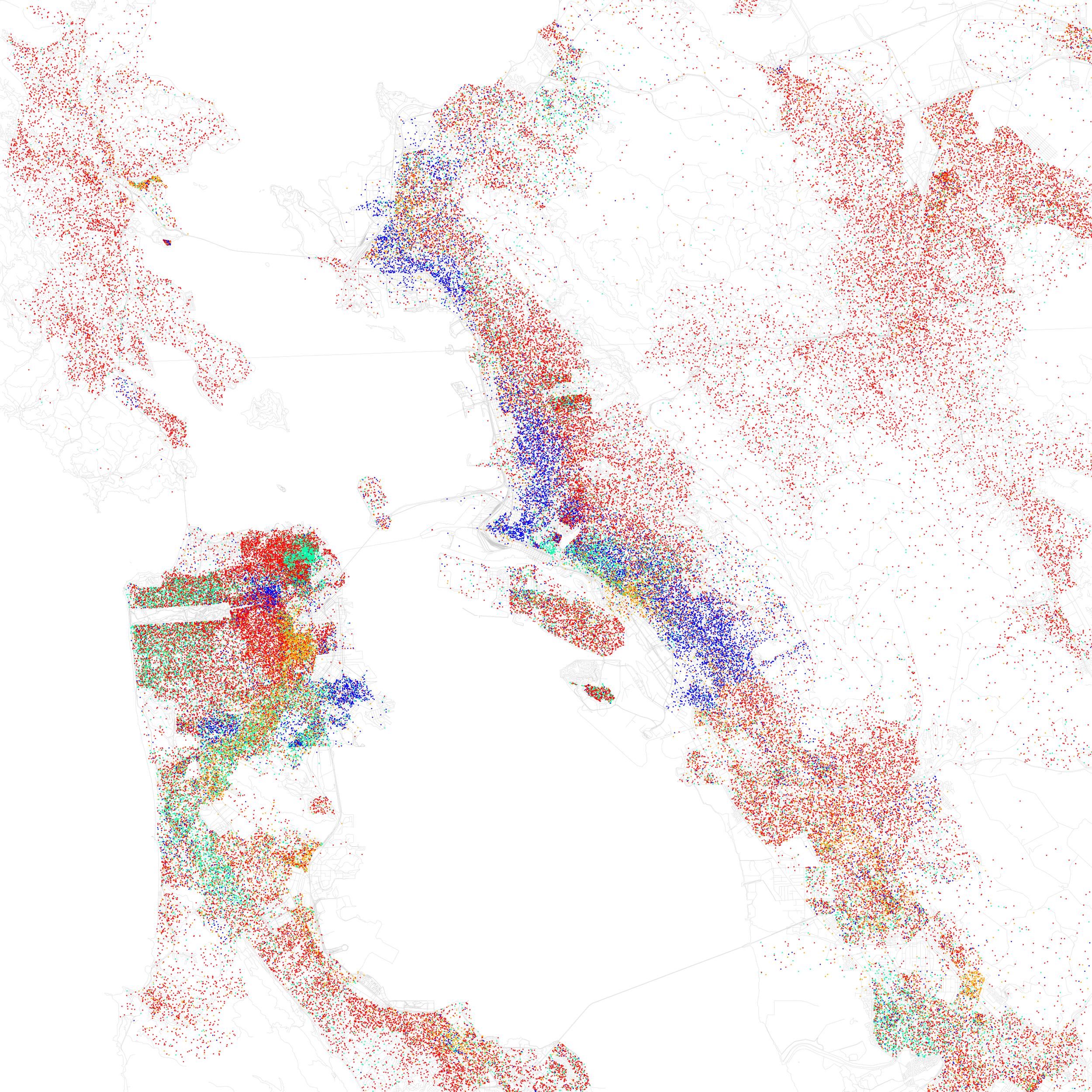 "Eric Fischer, ""Race and Ethnicity 1990: San Francisco, Oakland, Berkeley,"" 2010."