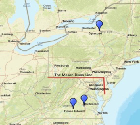 The map above shows the geographic distance between Syracuse, New York, Richmond, Virginia, and Prince Edward, Virginia. The image includes the Mason-Dixon Line which demarcates the traditional borders for Pennsylvania, Maryland, West Virginia, and Delaware.