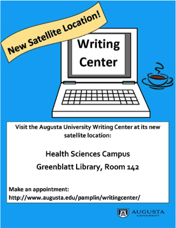 a flyer about their new satellite Writing Center location