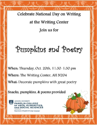 a flyer for an event at their writing center