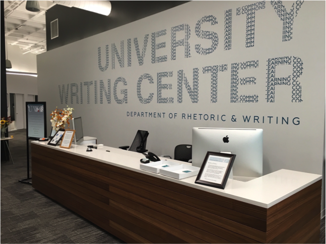 A photo of the front desk at the ut writing center